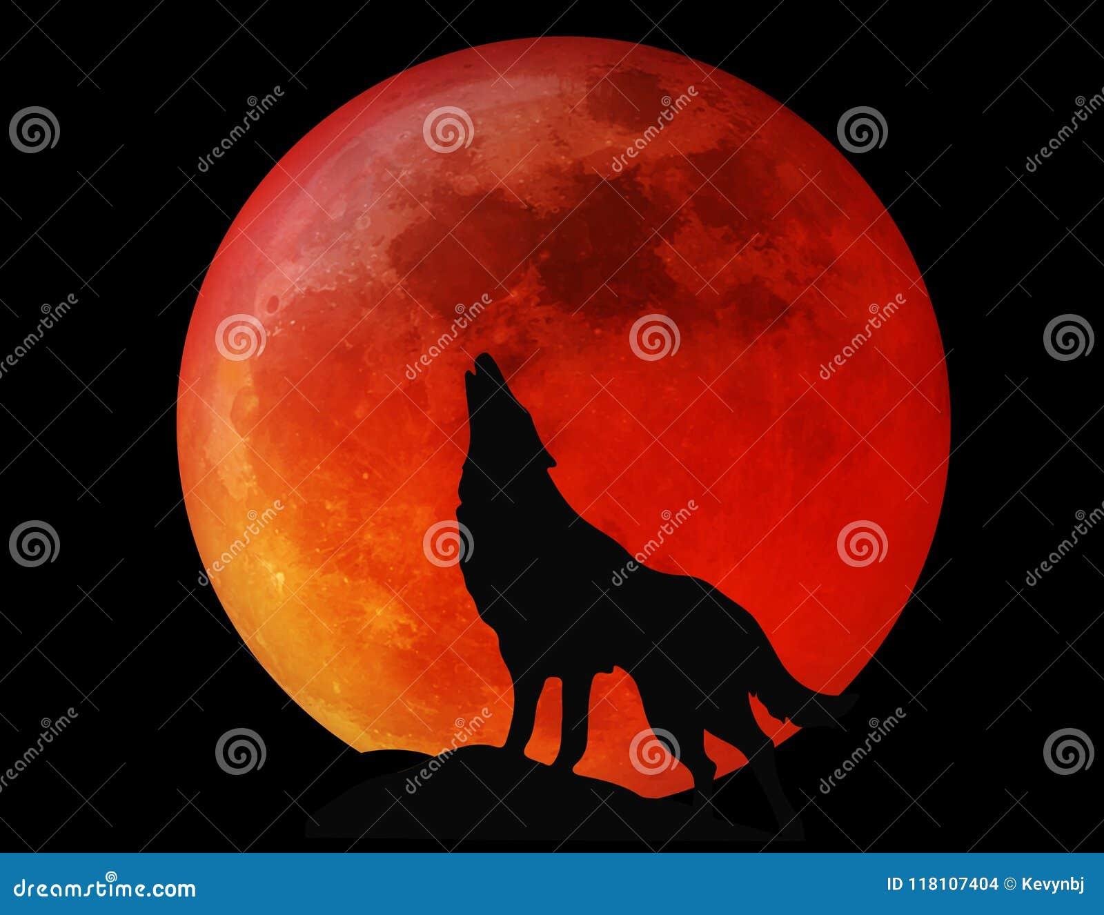 Luna piena Wolf Blood Red di Halloween