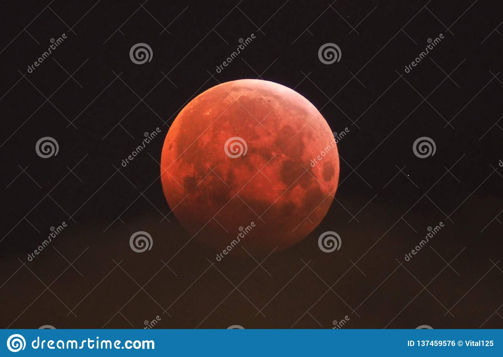Lunar Eclipse 21.01.2019 , red Moon and clouds