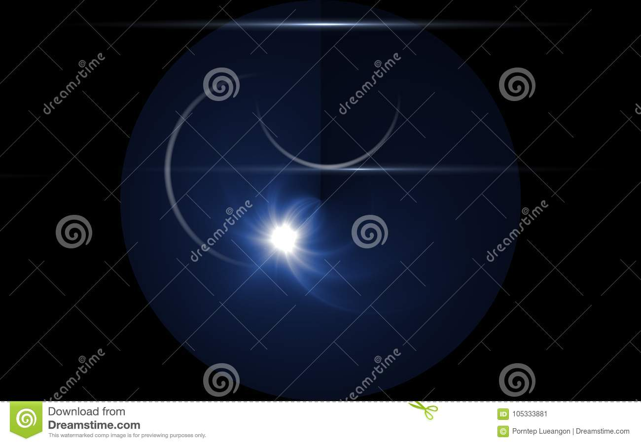lunar eclipse moon light flare in space background