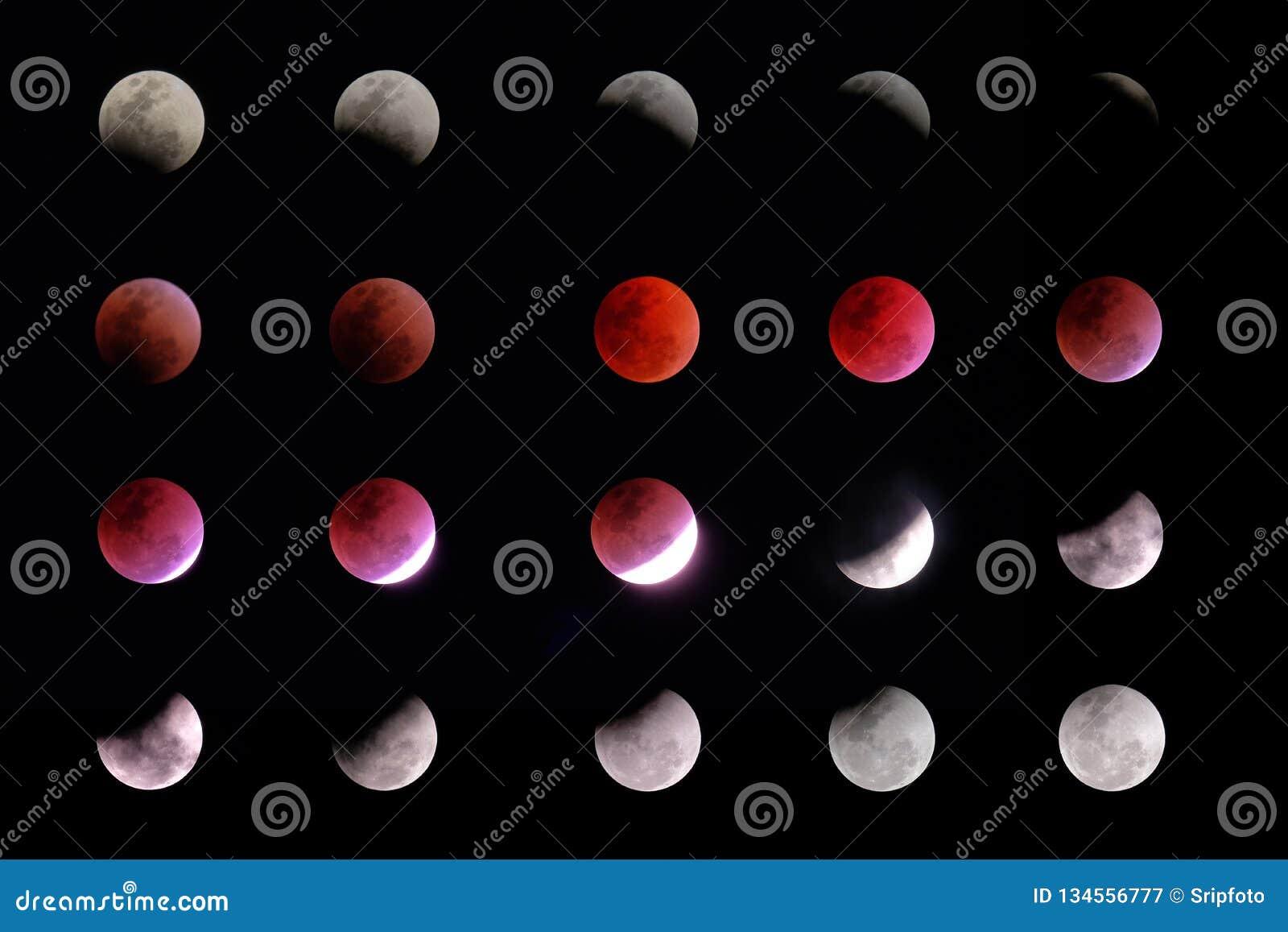 Lunar faser för förmörkelse