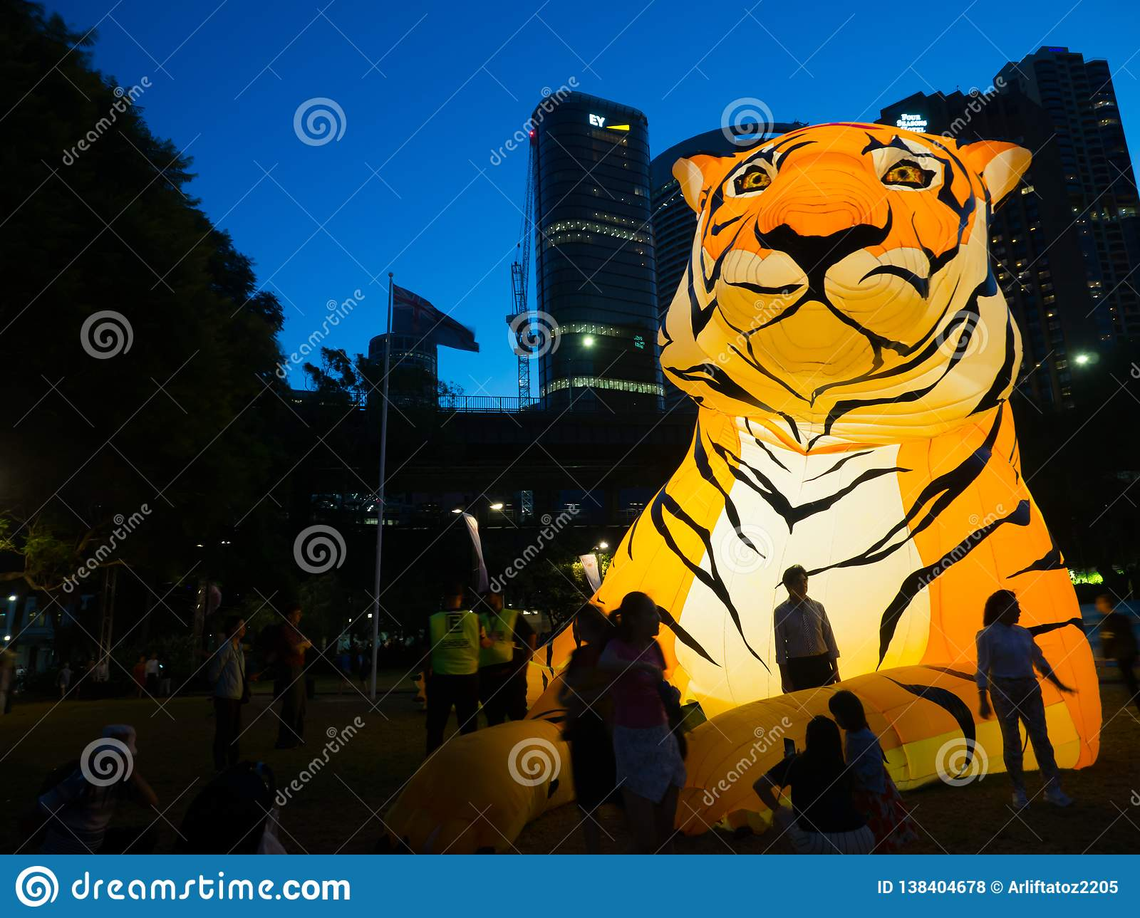 Lunar Lantern `The Tiger` is zodiac symbol of Tiger will be illuminated from dusk at Circular Quay by Artist Kevin Bathman.