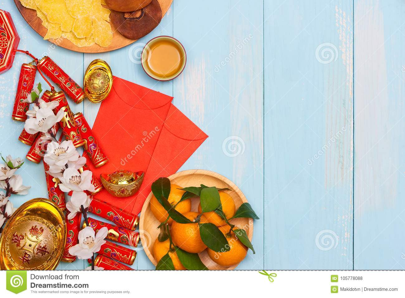 Lunar New Year.Firecrackers And Chinese Gold Ingots And ...