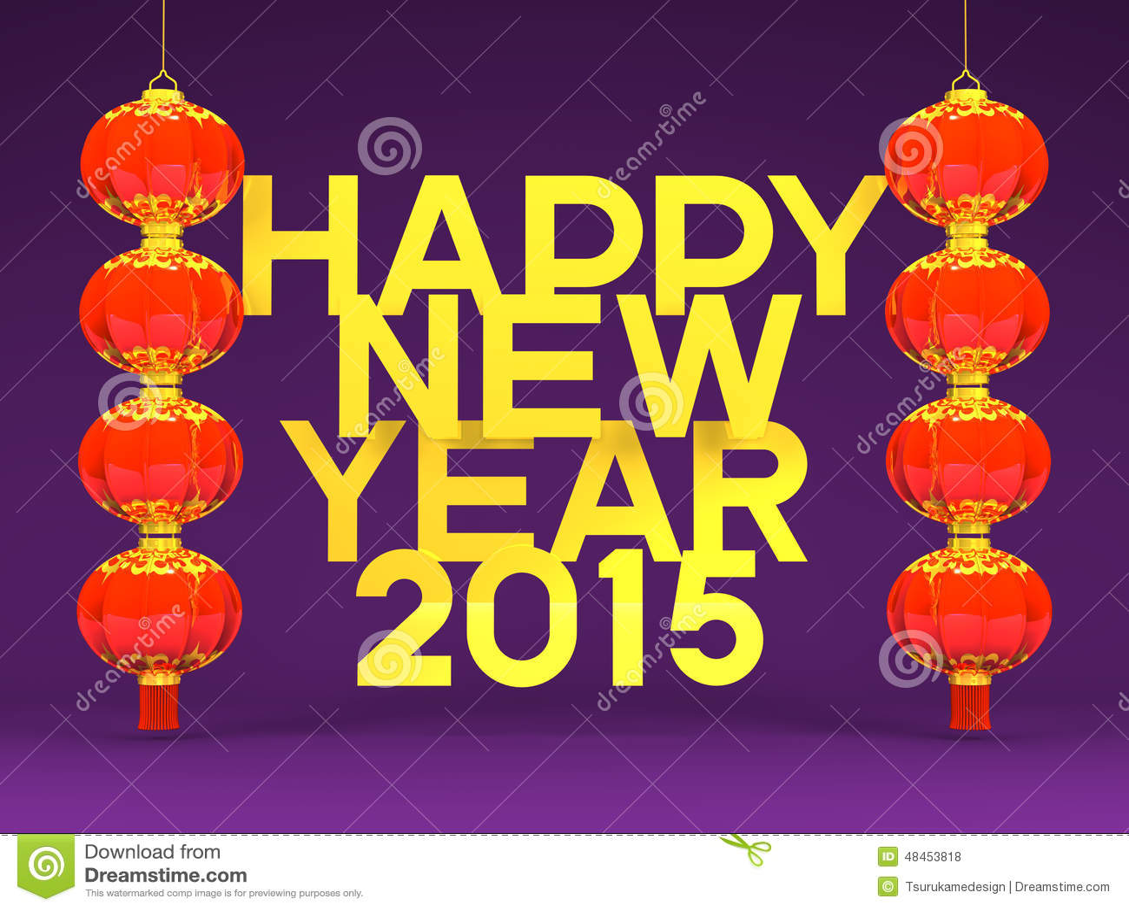 Lunar New Years Lantans 2015 Greeting On Purple Stock Illustration