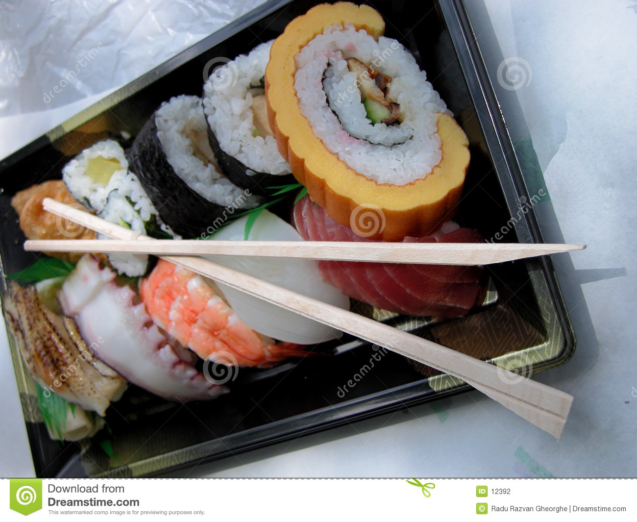 Lunch box with chopsticks