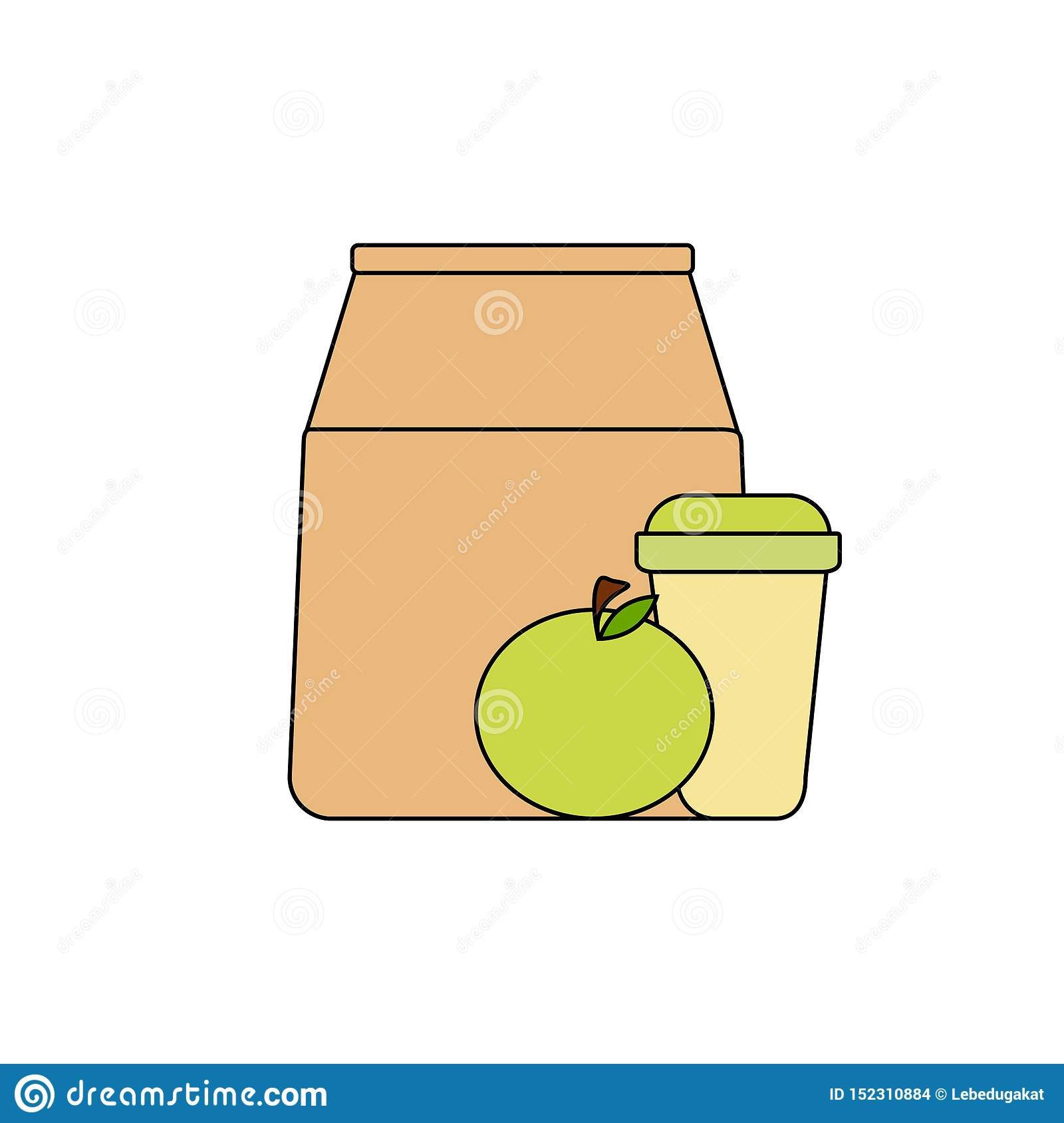 Lunch box: paper bag, green apple and coffee in a paper cup. healthy breakfast, healthy lifestyle