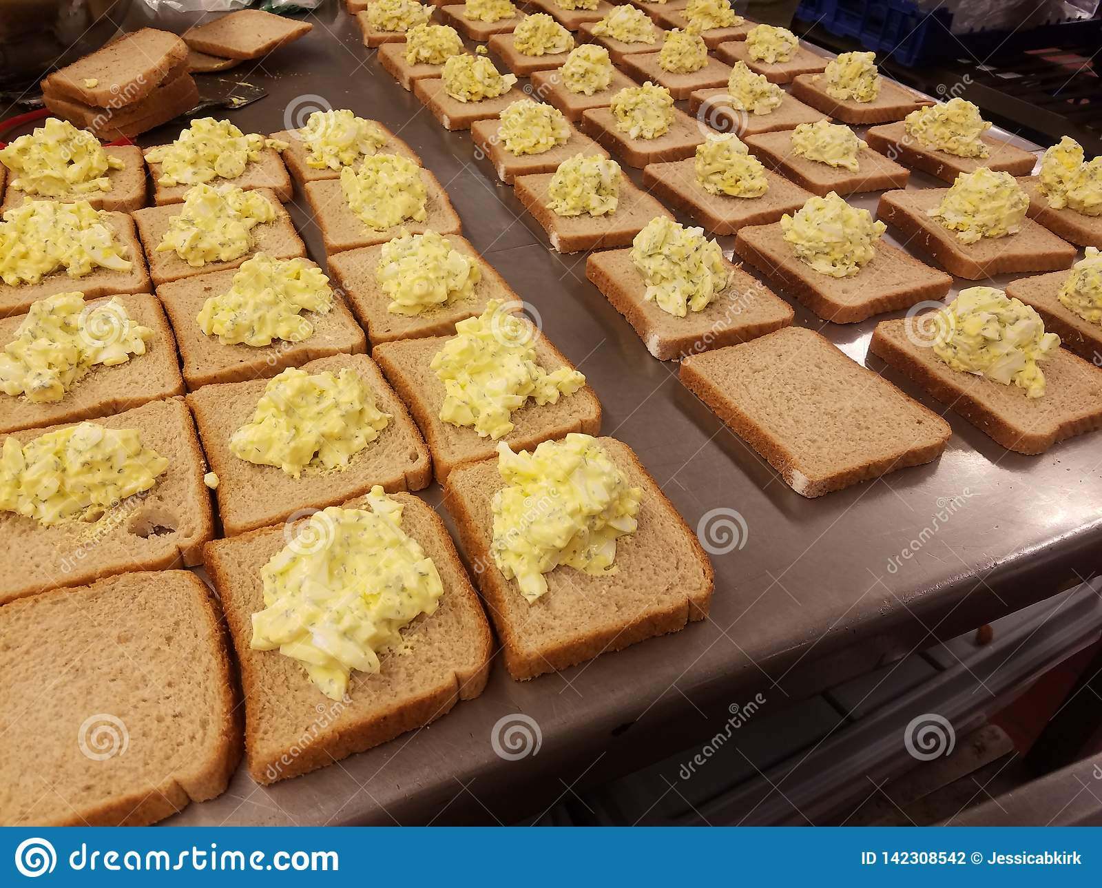 Dozens Of Egg Salad Sandwiches On Metal Table At The Soup