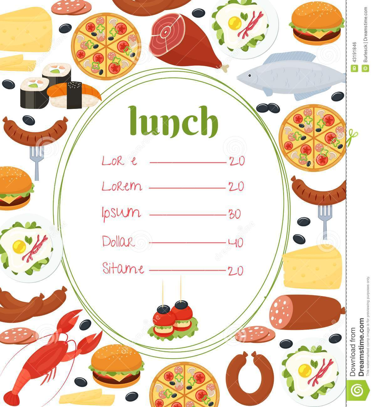 Lunch menu template stock vector illustration of cuisine for Max fish menu