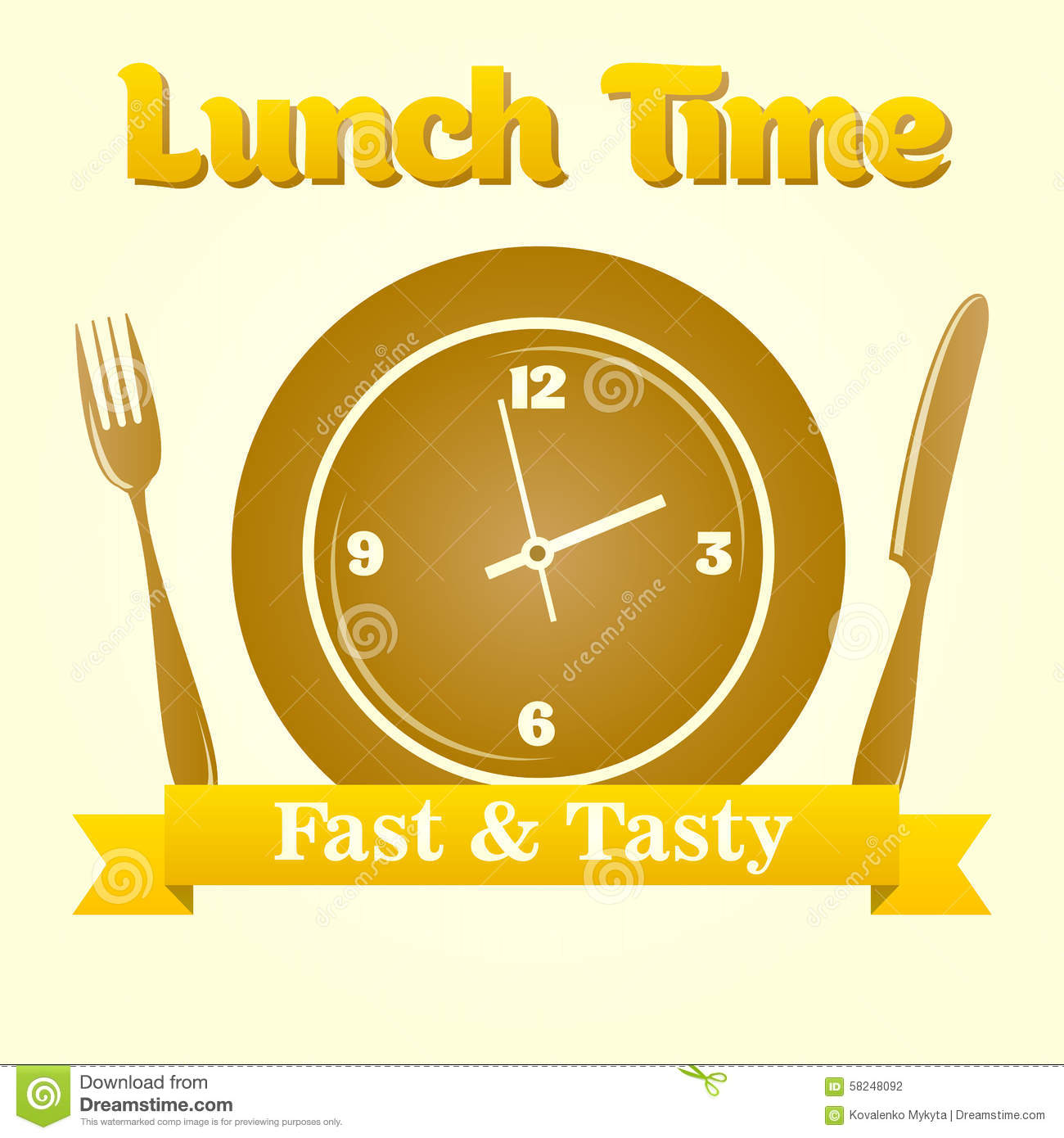 Lunch Time Illustration Stock Vector Of Meal