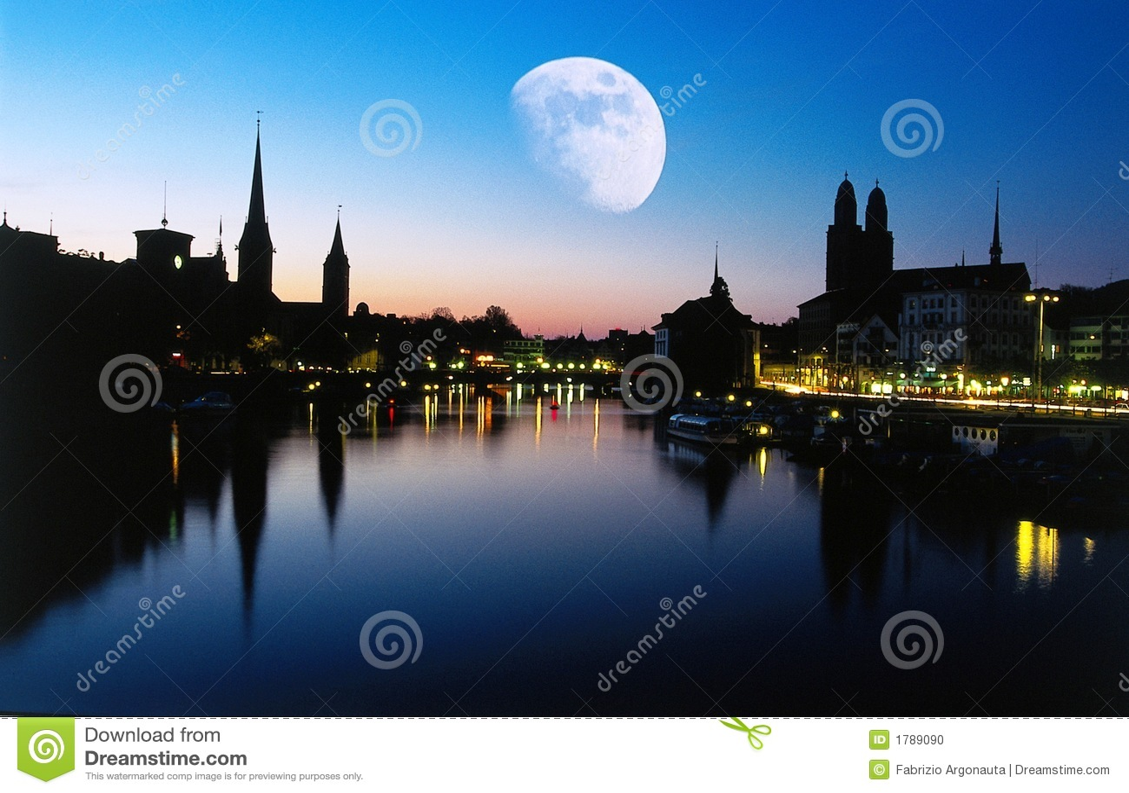 Lune au crépuscule, Zurich