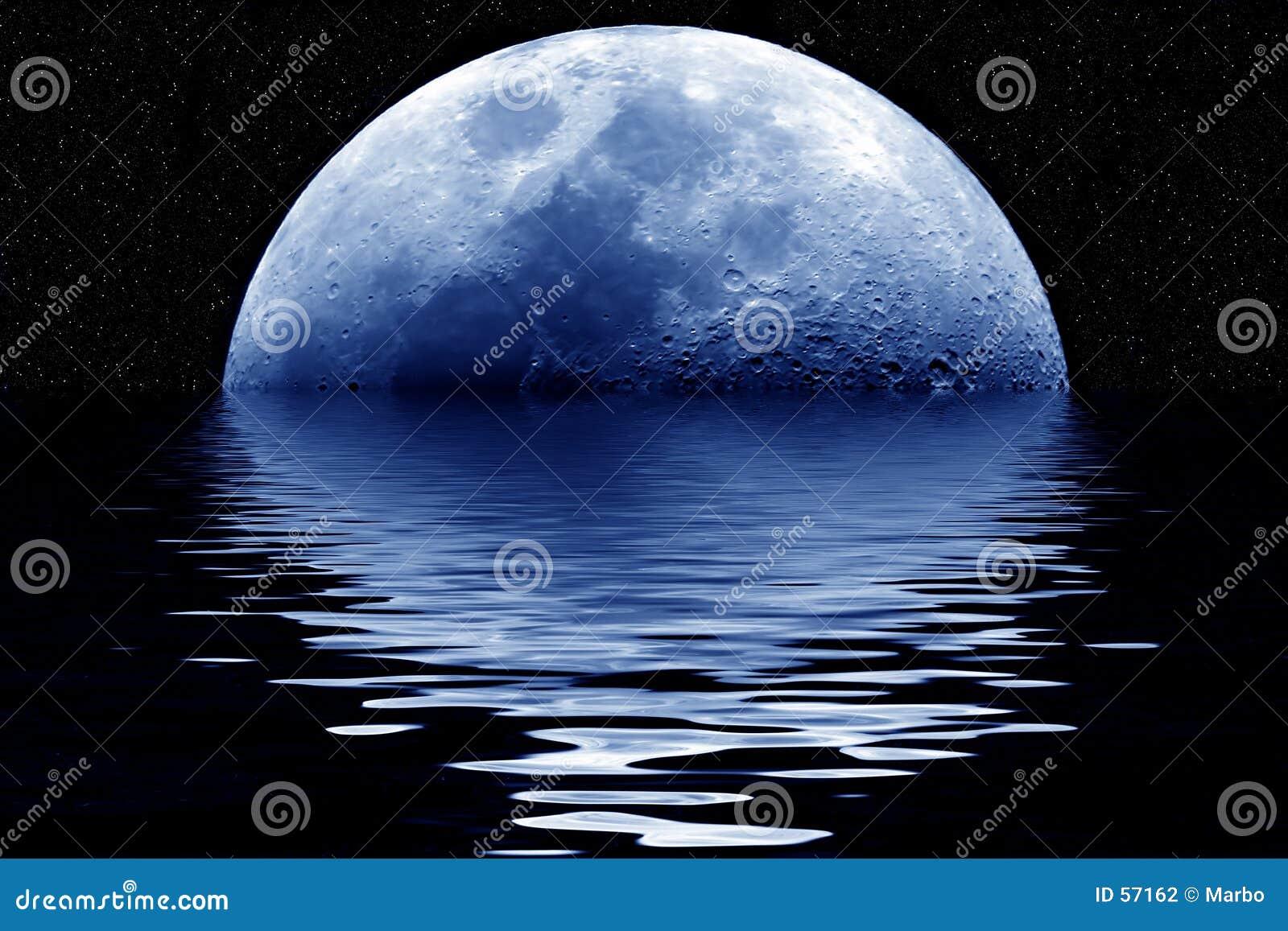 Download Lune bleue illustration stock. Illustration du cratère, espace - 57162