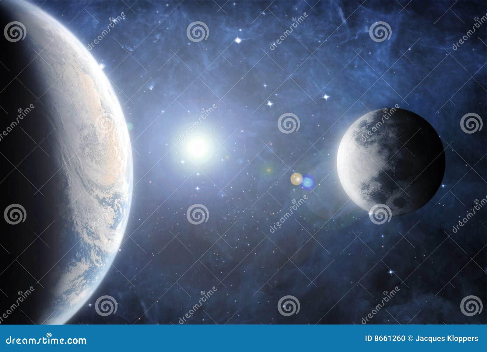 Lune cinématographique d horizon de la terre