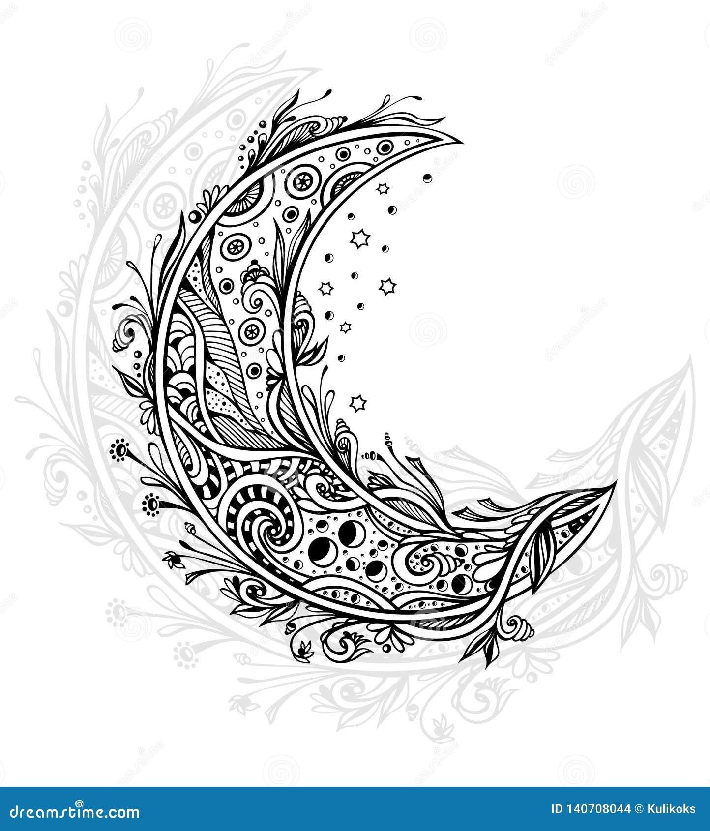 Lune Decorative Ou Noir En Croissant Sur Le Blanc Illustration De