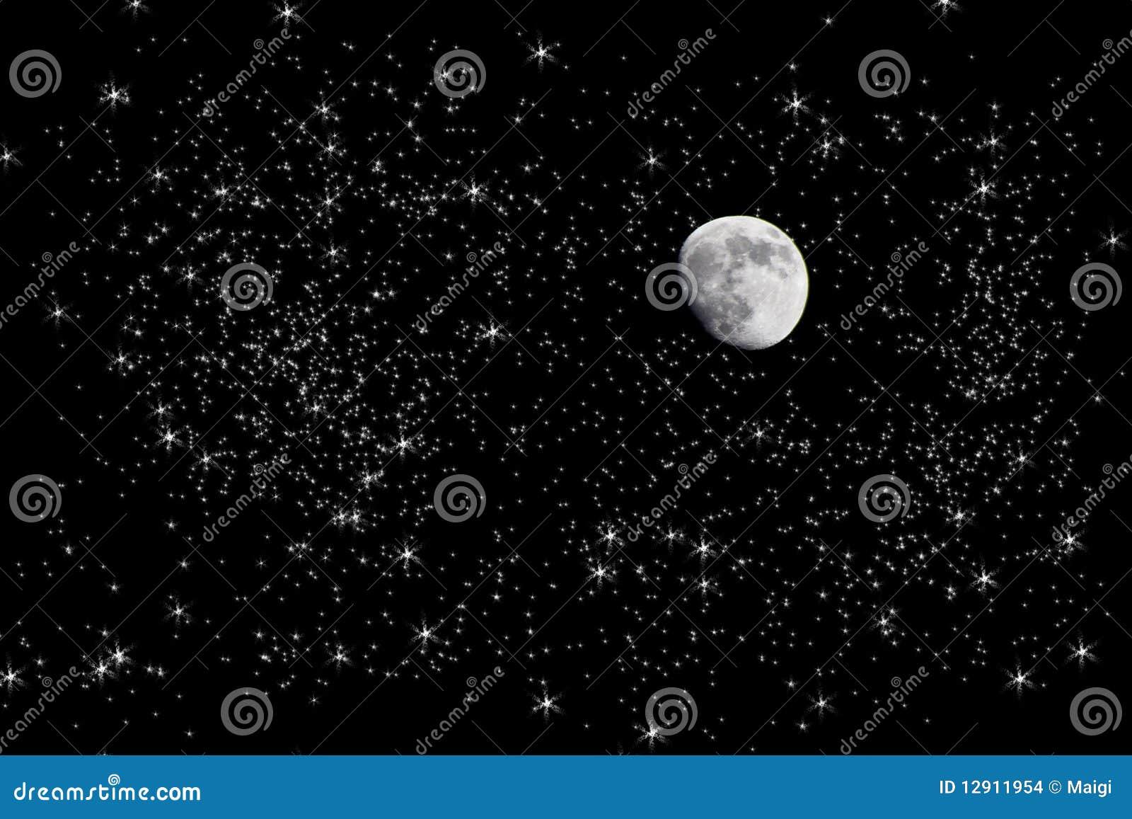 Lune en ciel de nuit étoilée