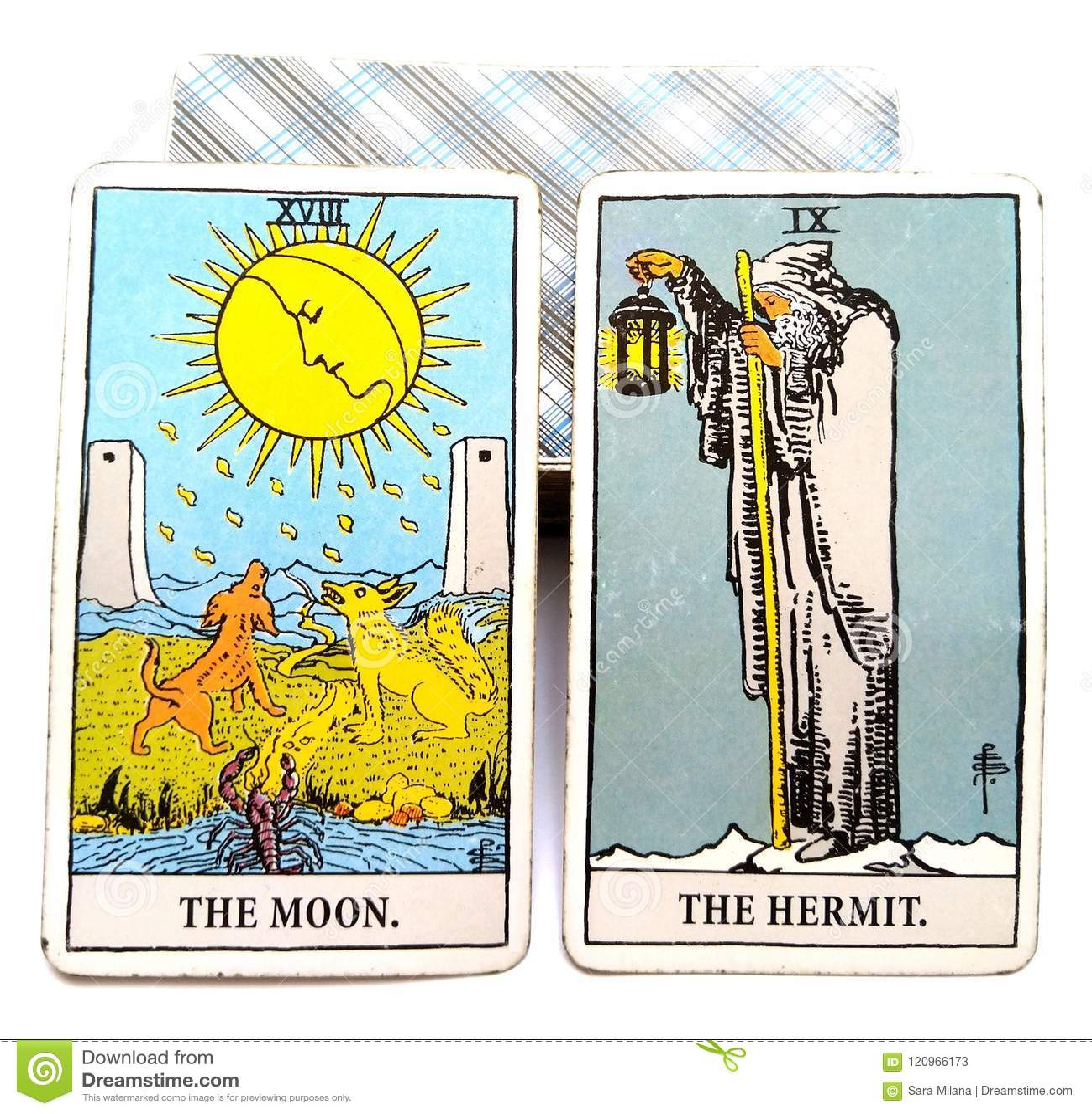 Lune/ermite de carte de naissance de tarot