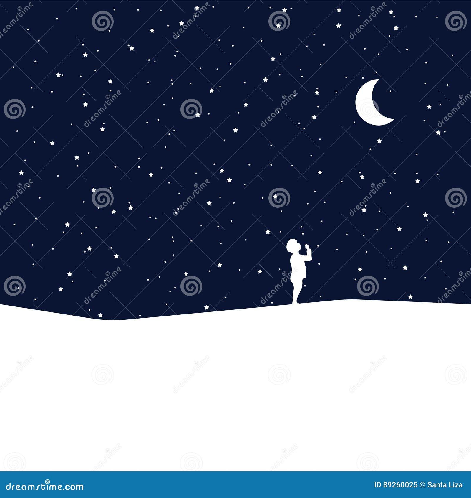 Lune Et Bébé De Rêver Idée De Concept Illustration De Vecteur