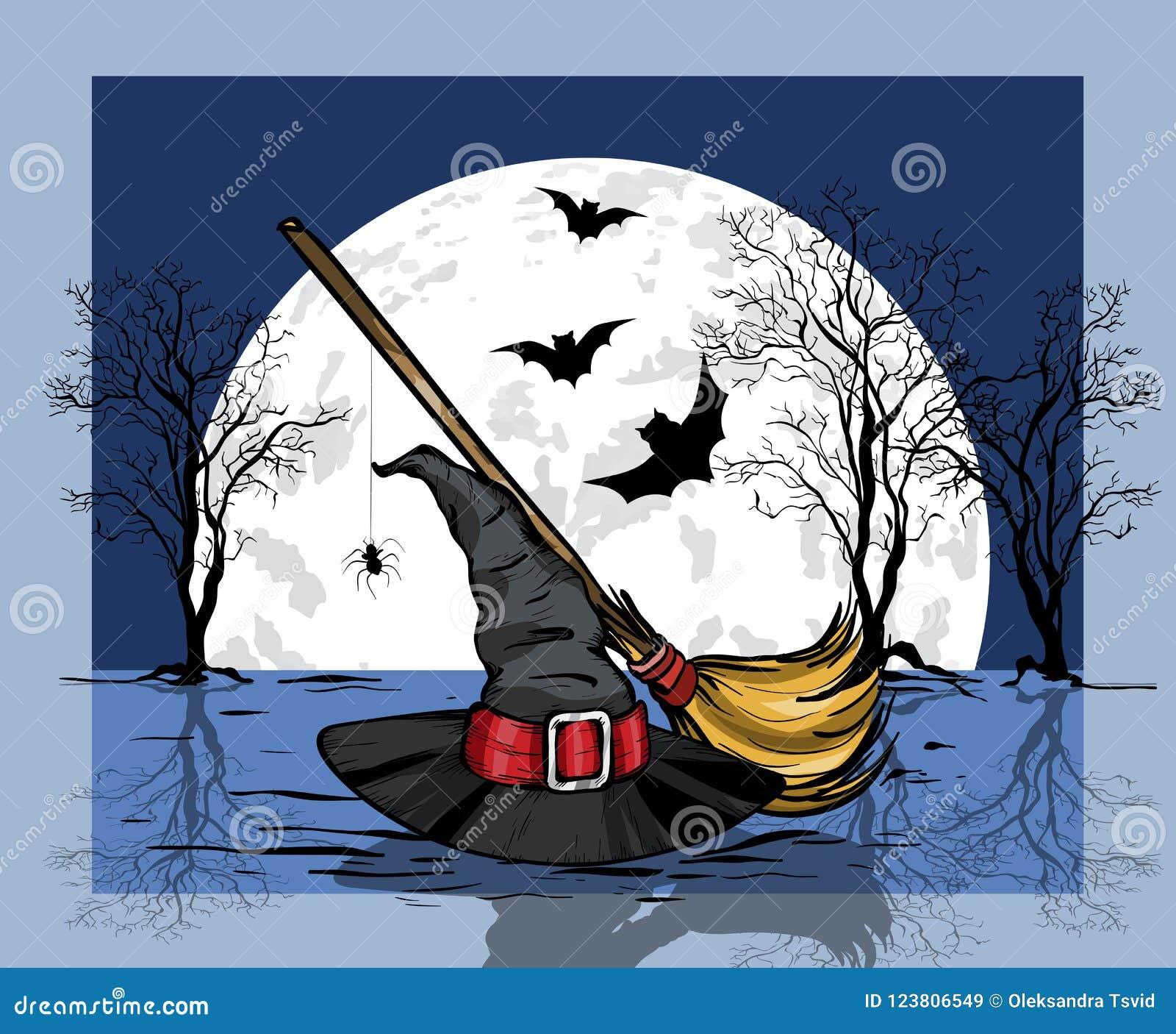 Lune et batte d againts de chapeau et de balai de magicien grandes Concept de Veille de la toussaint