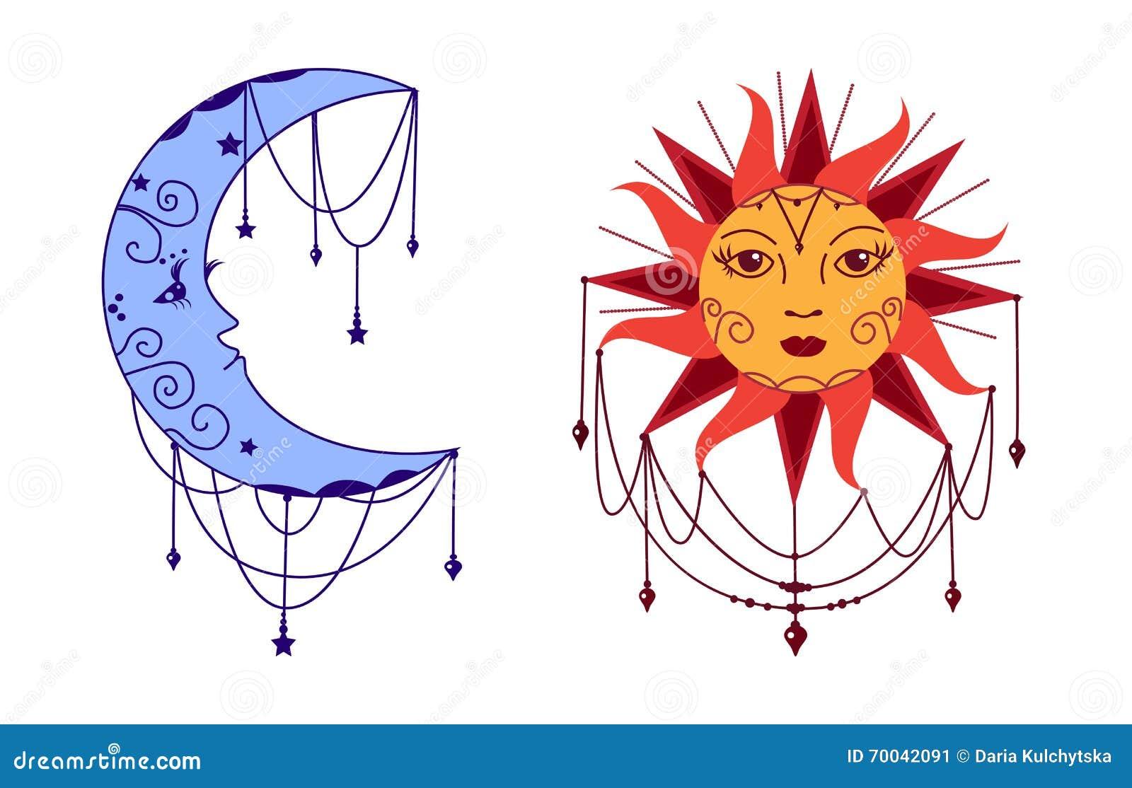 Lune et Sun avec des visages Illustration décorative de vecteur