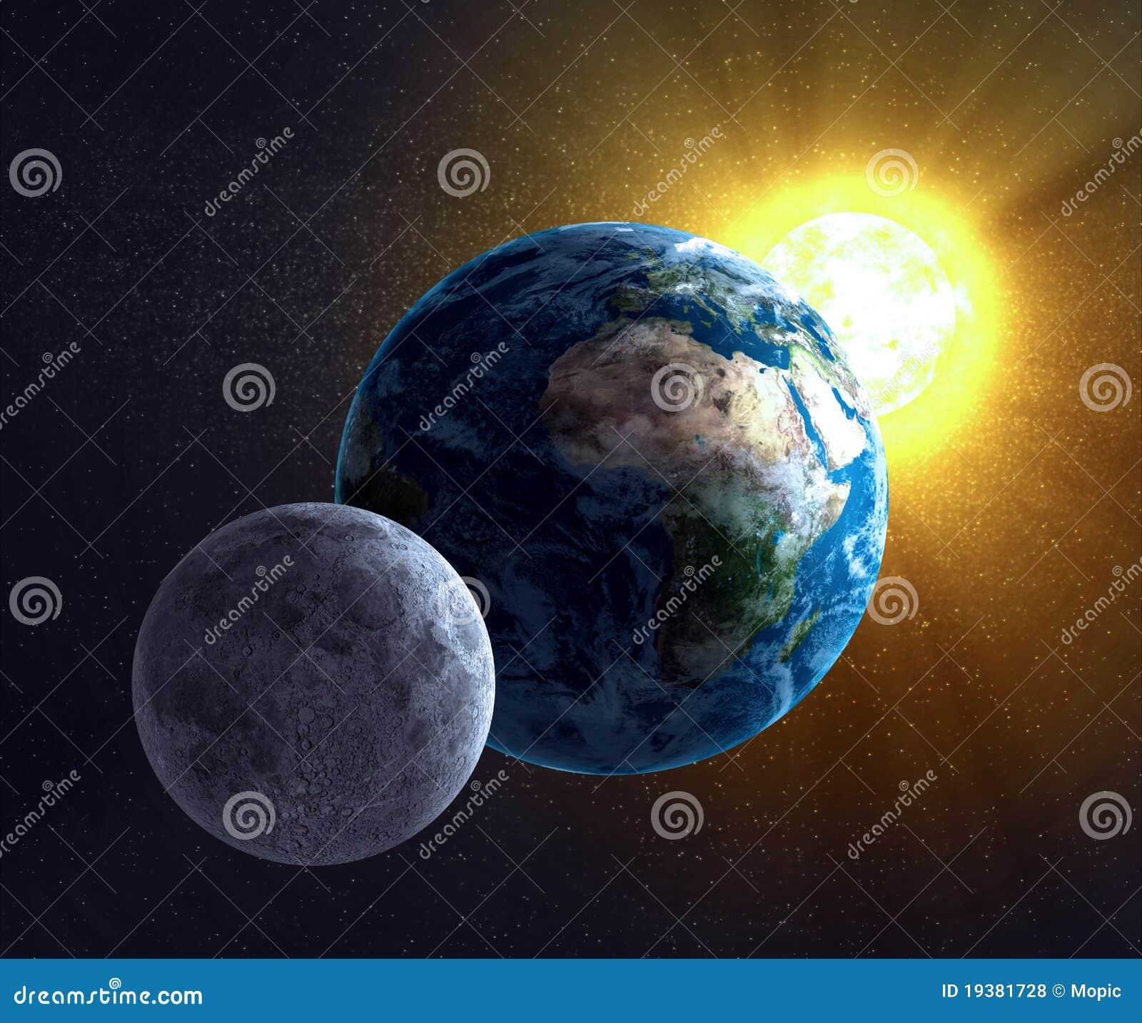 Lune, terre et le Sun