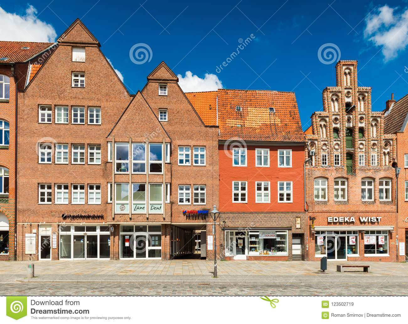 Luneburg, Germany: Facades of houses in different architectural styles