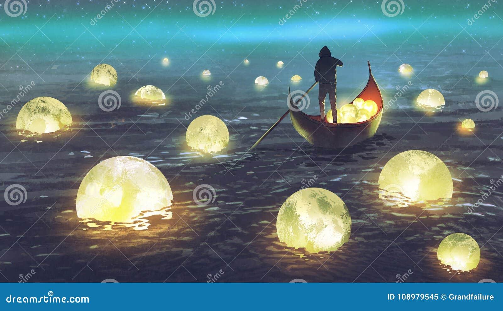 Lunes de moisson d homme sur la mer