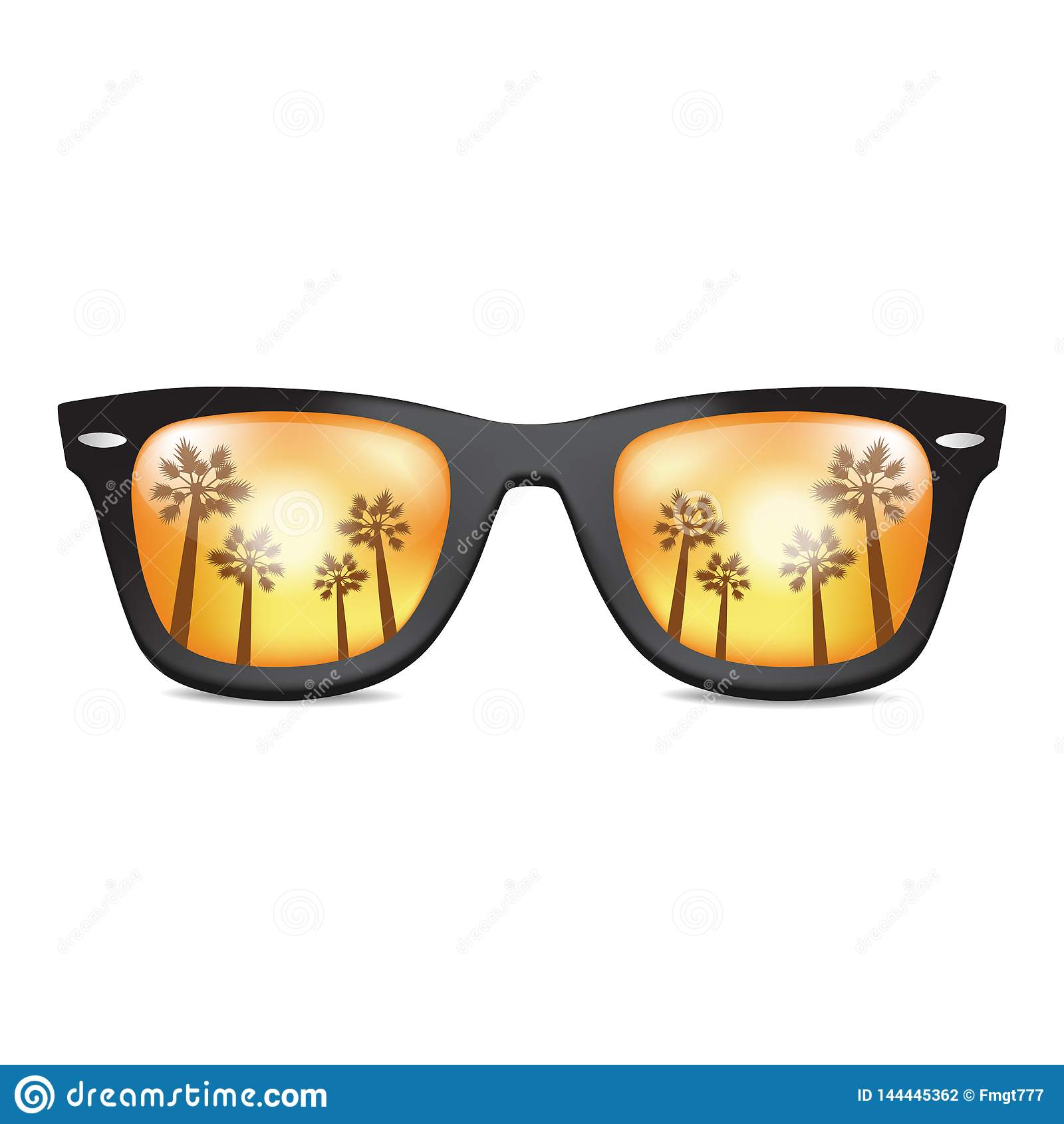 Lunettes de soleil réalistes d isolement avec la paume california Vecteur