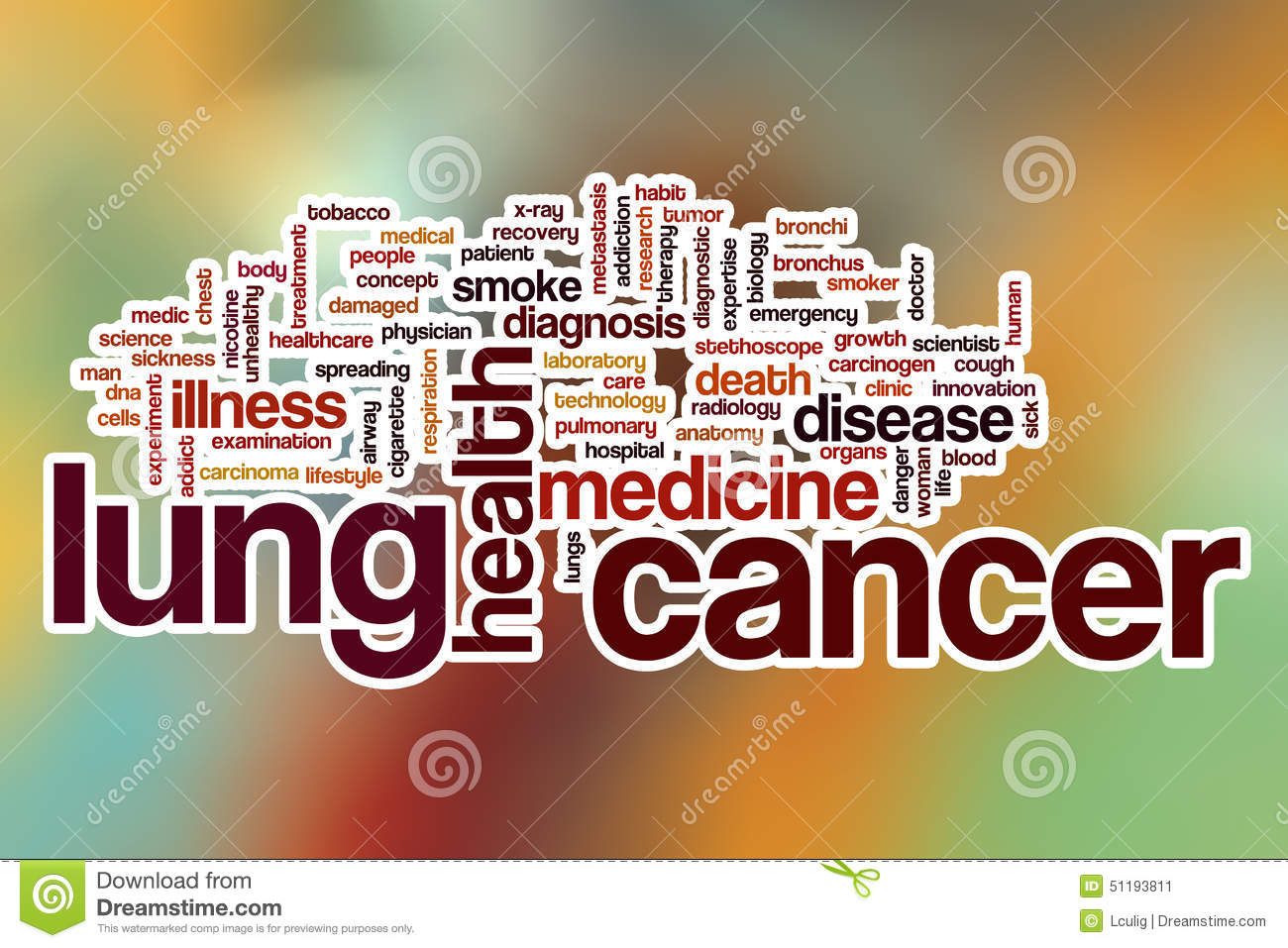 lung cancer word cloud with abstract background stock