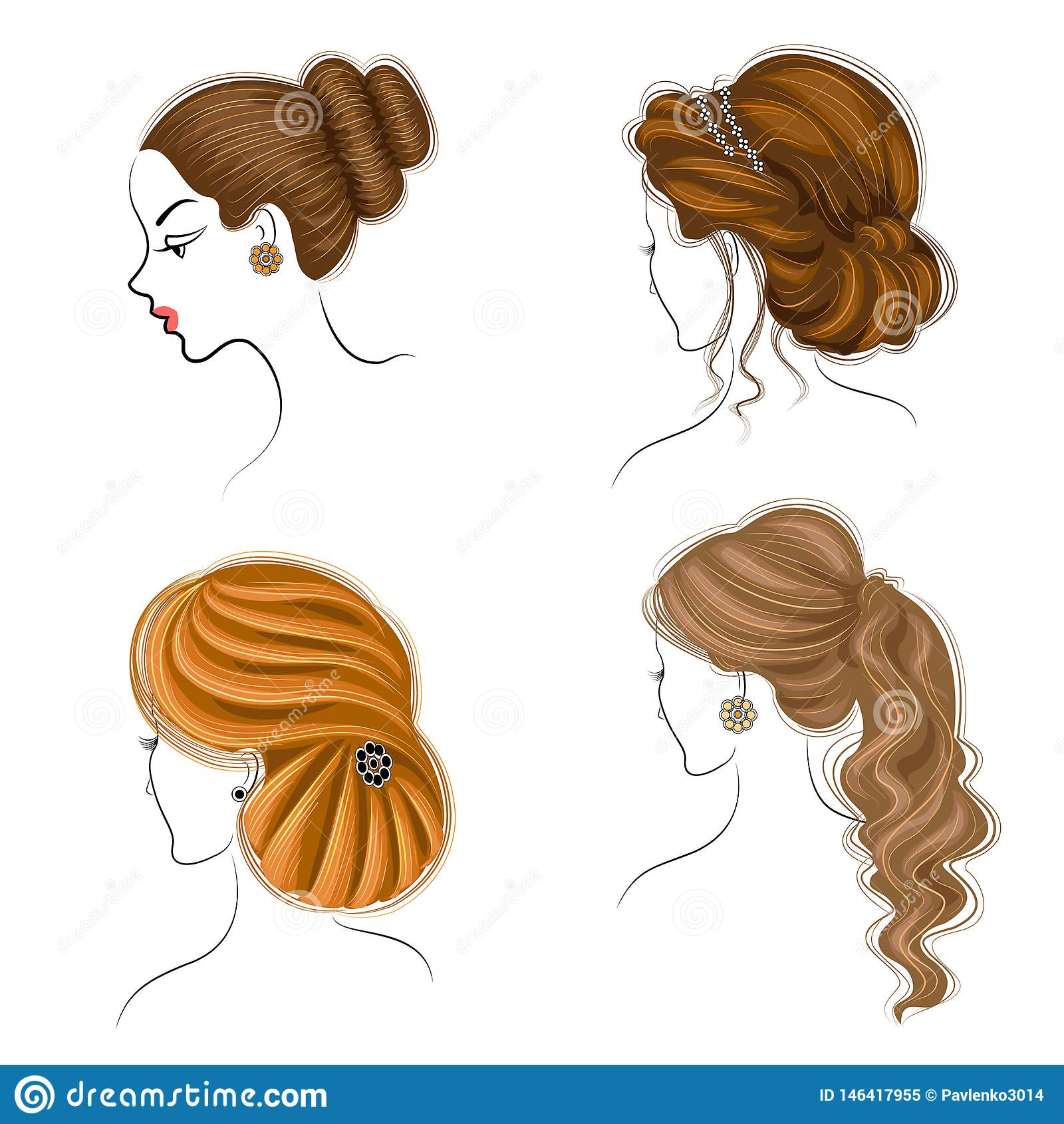Lungo intreccia i capelli marroni creativi, isolati su fondo bianco Acconciature di una donna Insieme delle illustrazioni di vett