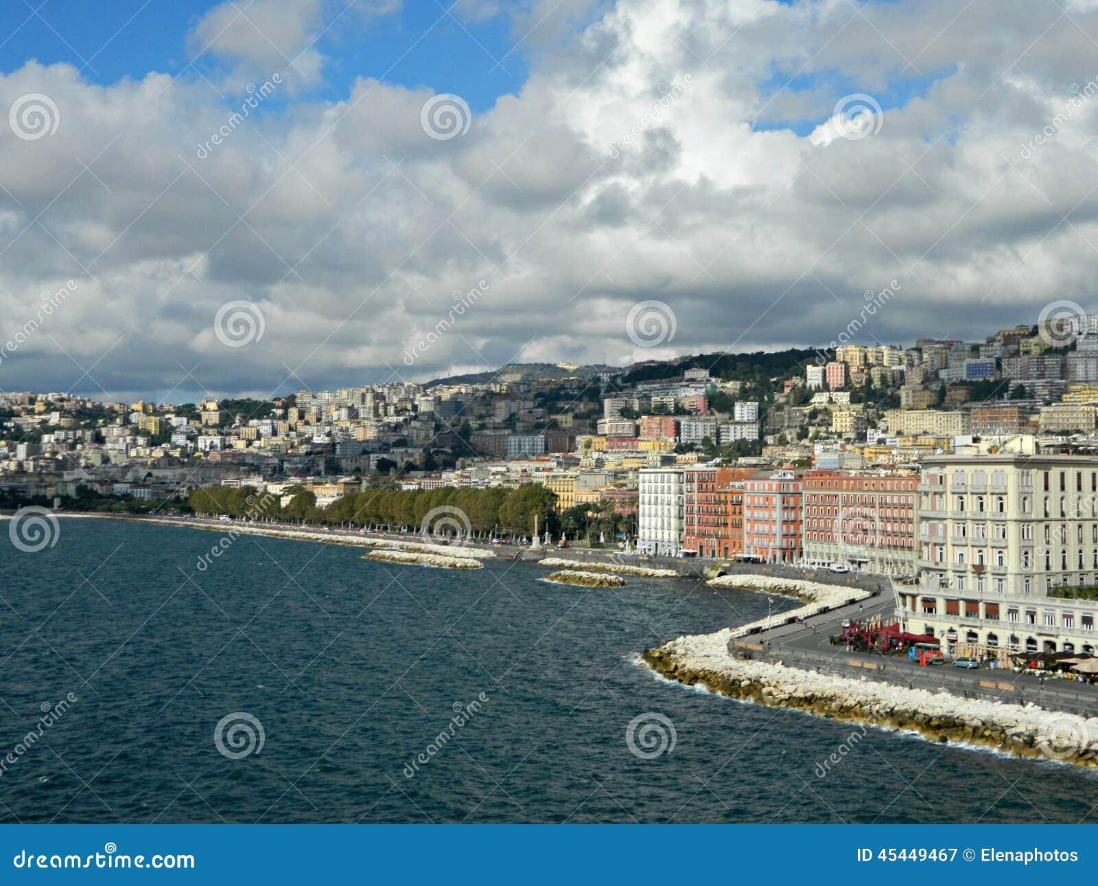 Lungomare and Adriatic seashore in autumn season at Naples. Editorial ...