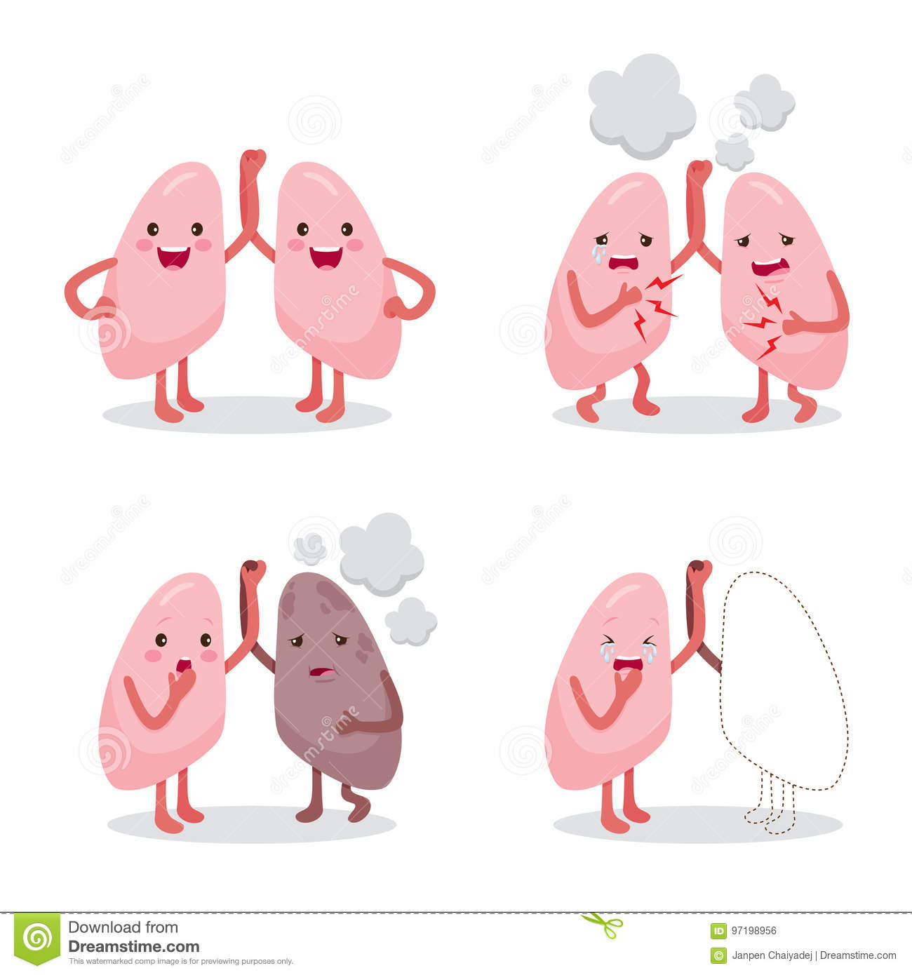 lungs healthy and sickness set cartoon character human interna