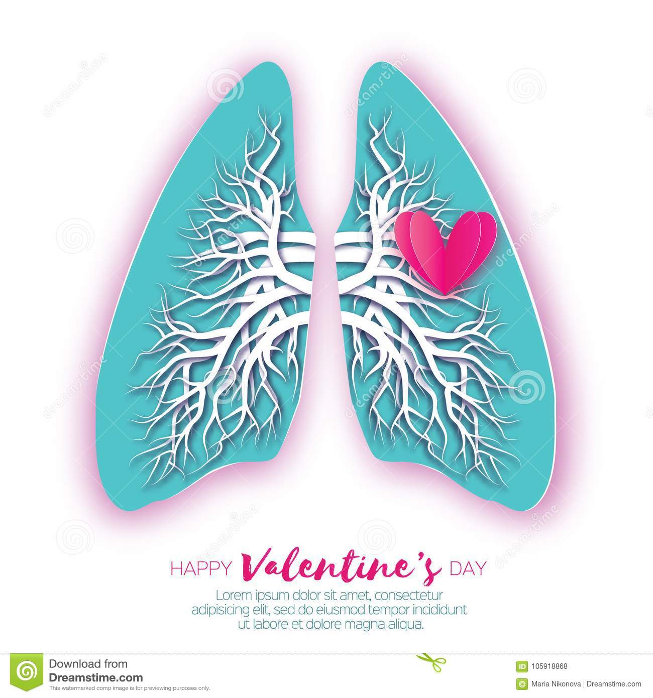 Lungs Origami. Love Heart. Blue Paper Cut Human Lungs Anatomy With ...