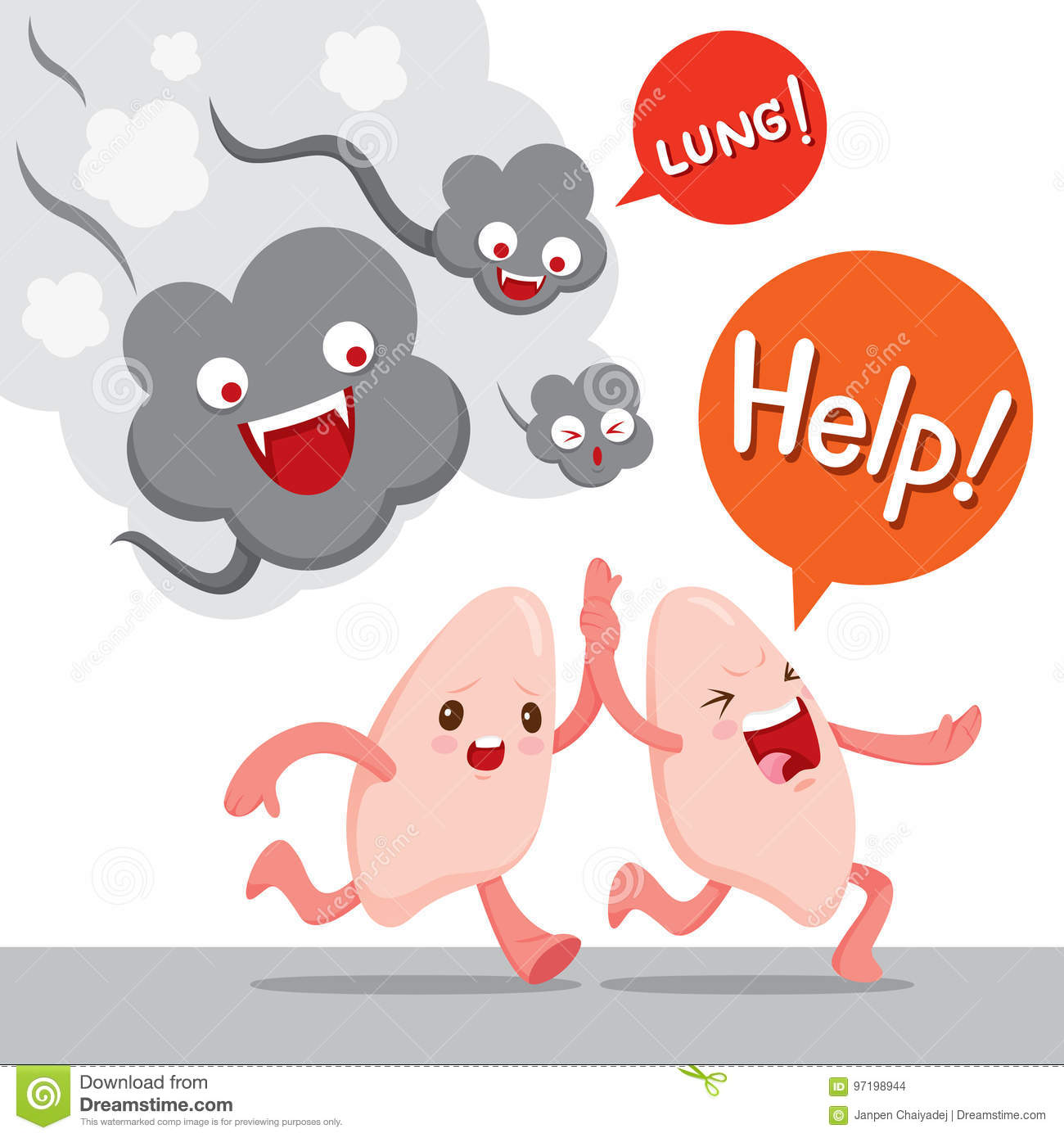 lungs run away from smoke cartoon character human internal stock