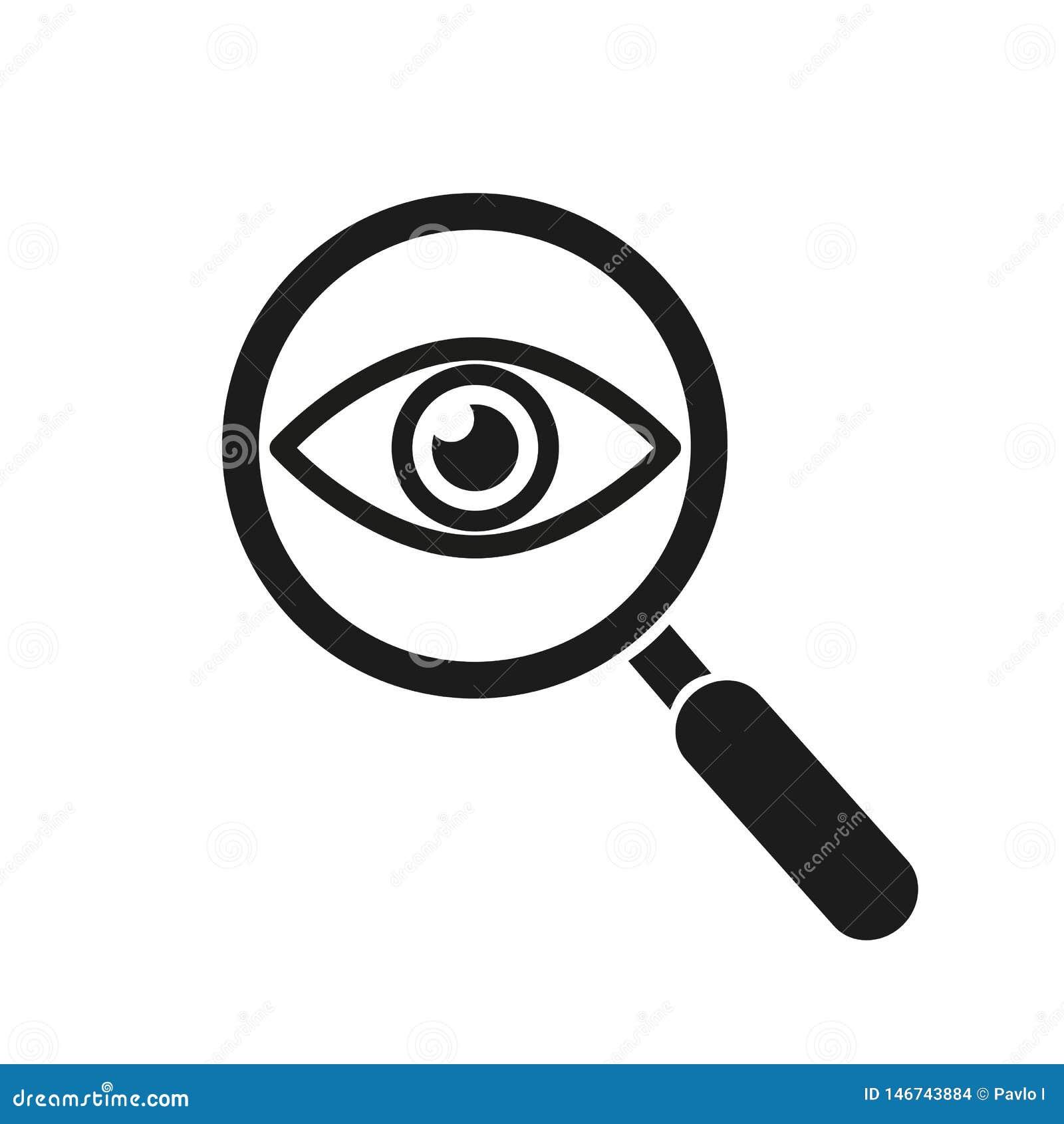Lupa con el icono del esquema del ojo Encuentre el icono, investigue el s?mbolo del concepto Ojo con la lupa Aspecto, aspecto, mi