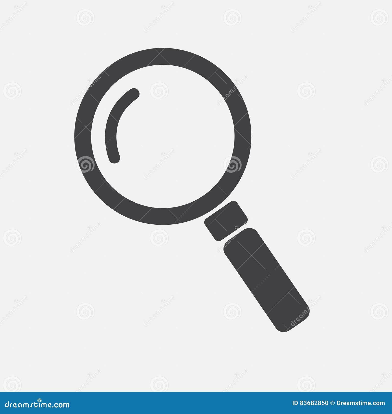 Lupa de la lente, lupa, ejemplo del vector del icono de la búsqueda en el fondo blanco