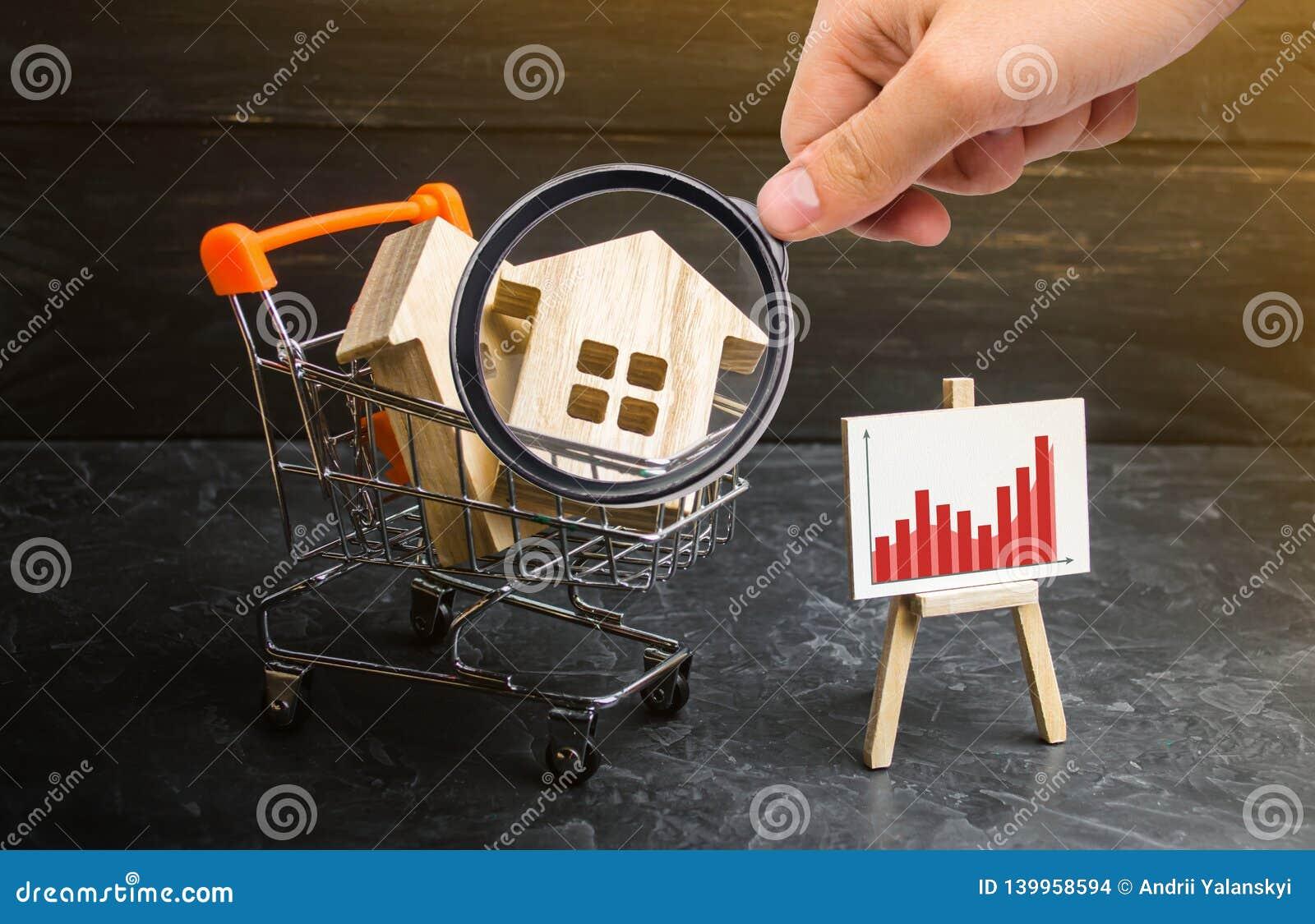 A lupa está olhando o trole do supermercado com casas e um suporte com um gráfico das estatísticas Aumento da procura
