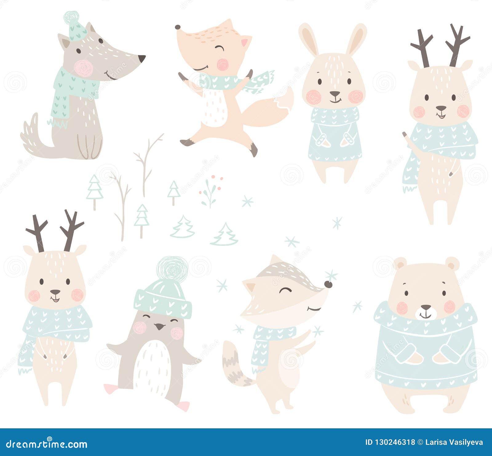 Lupo, volpe, coniglietto, orso, procione, renna, insieme di inverno del bambino del pinguino Animale sveglio di natale in maglion