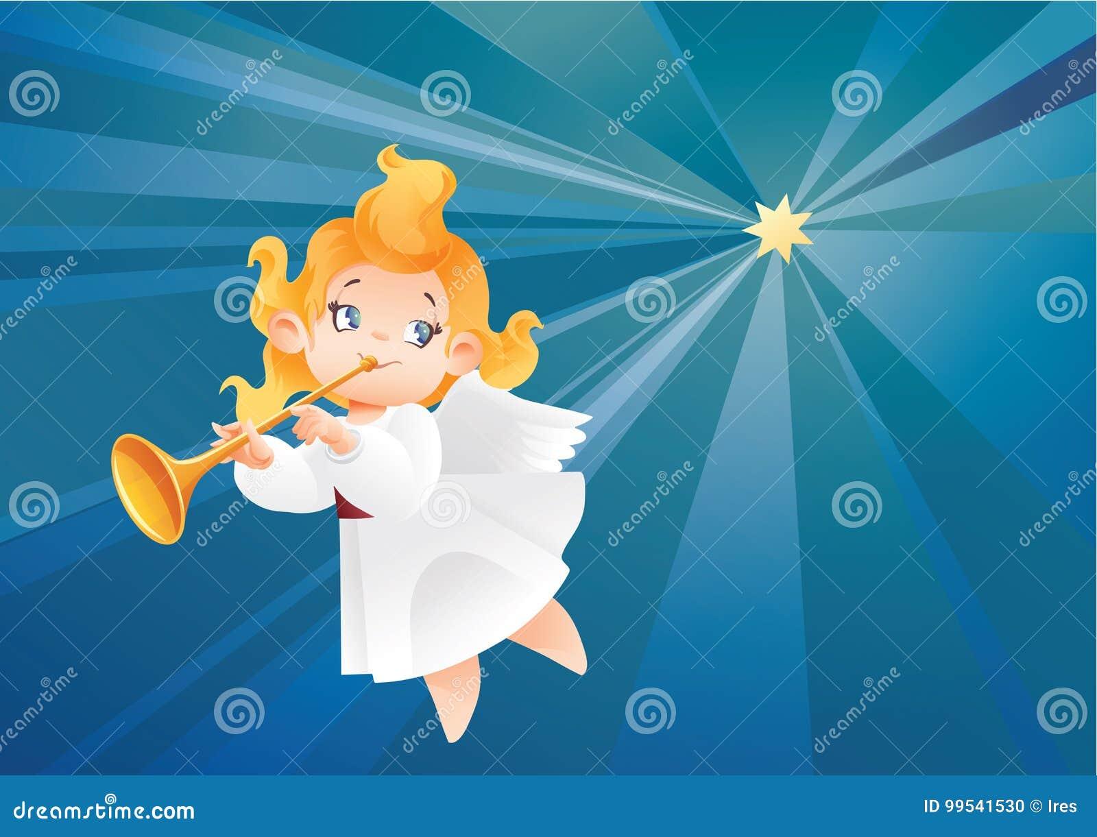 Lura ängelmusikerflyget på en natthimmel, danandefanfarappell