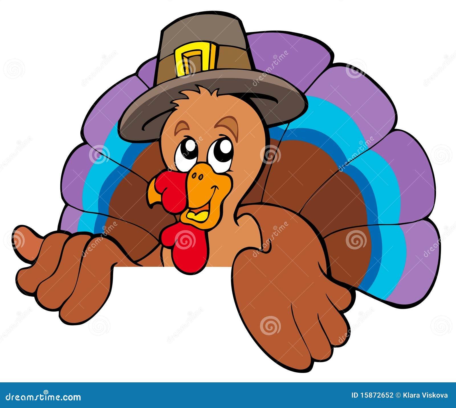 Lurking Cartoon Turkey In Hat Stock Photography Image