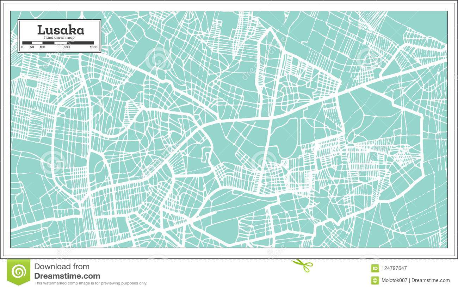 Lusaka Zambia Map.Lusaka Zambia City Map In Retro Style Outline Map Stock