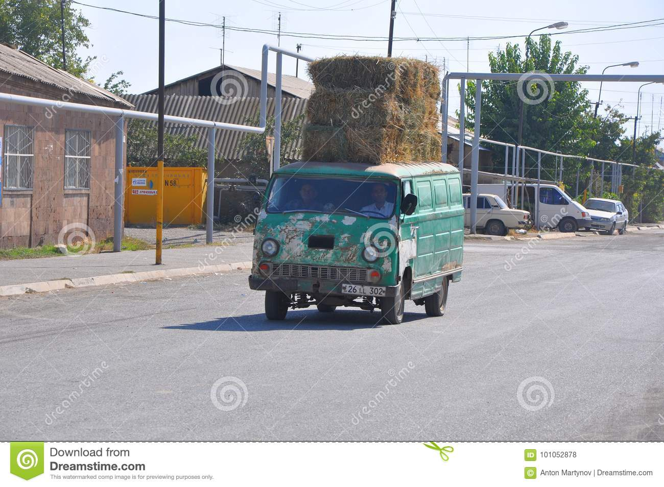 LUSARAT, ARMENIA - OCTOBER 12, 2016: The Old Car Carries Bales Of ...