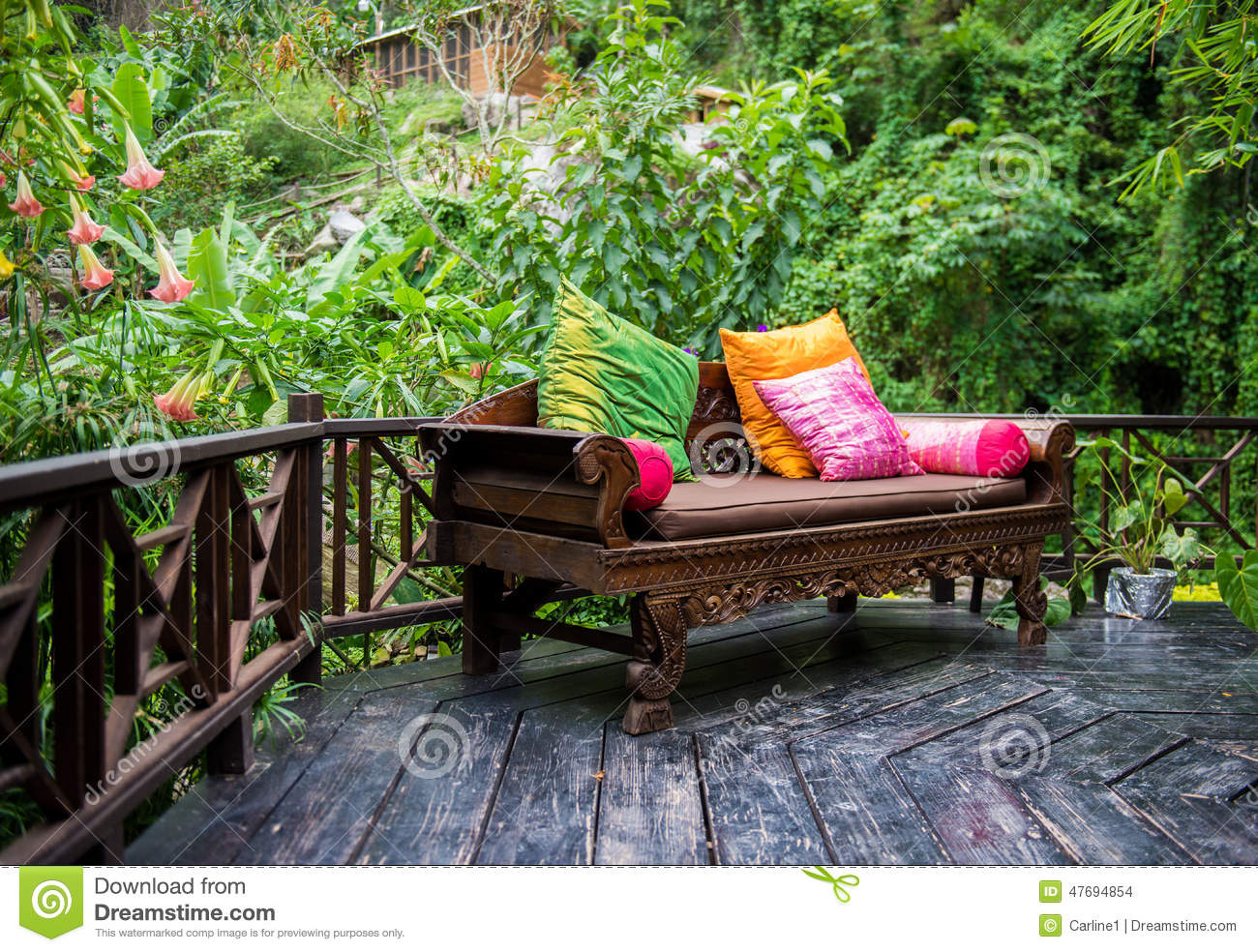 Lush Backyard Patio Stock Photo Image 47694854