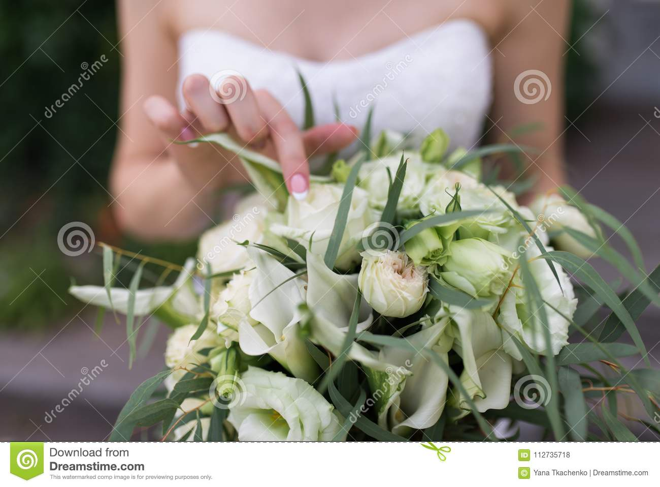Lush Bridal Bouquet With White Flowers And A Lot Of Greenery Bride