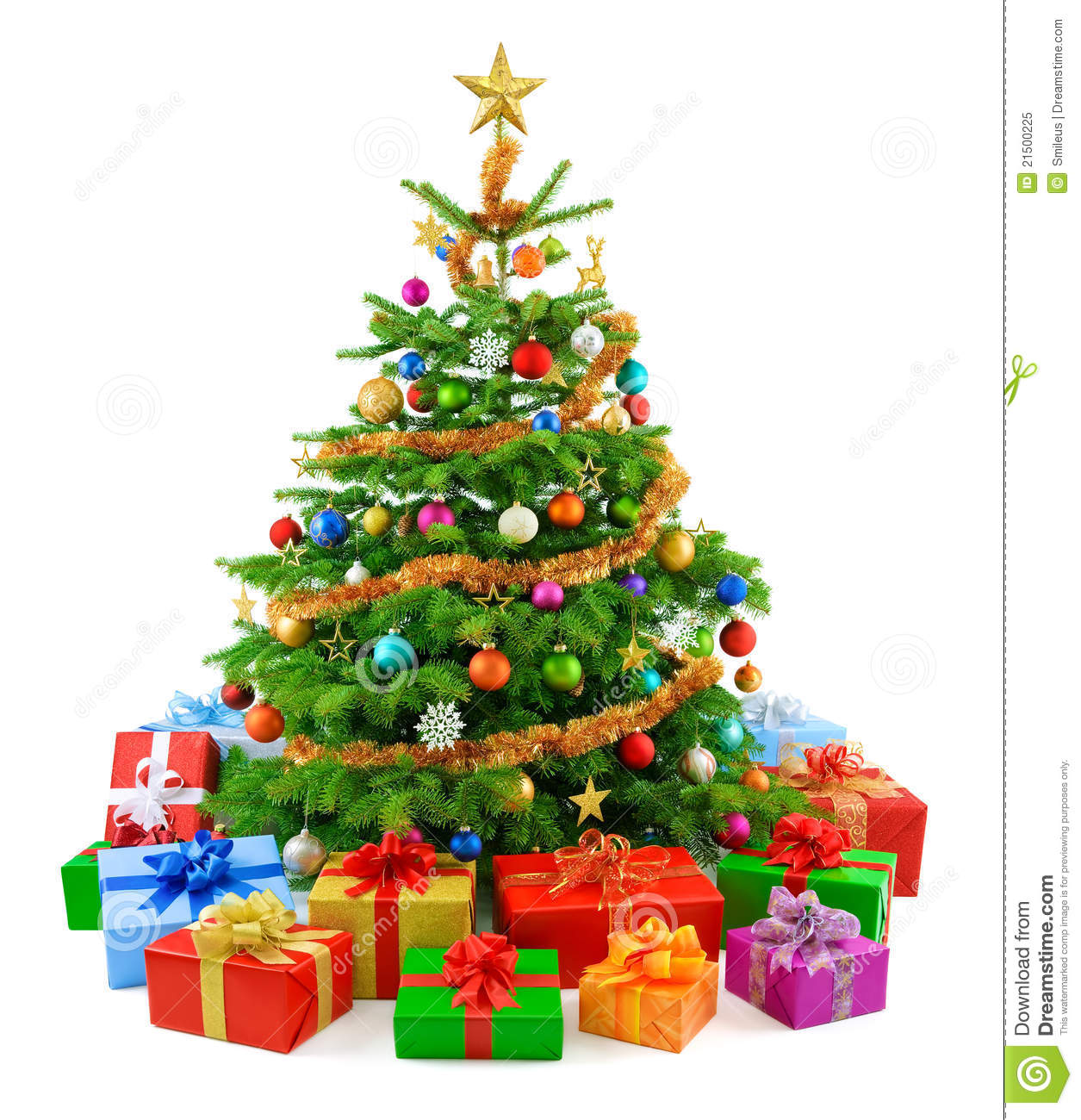 Lush Christmas Tree With Colorful Gift Boxes Stock Image Image Of
