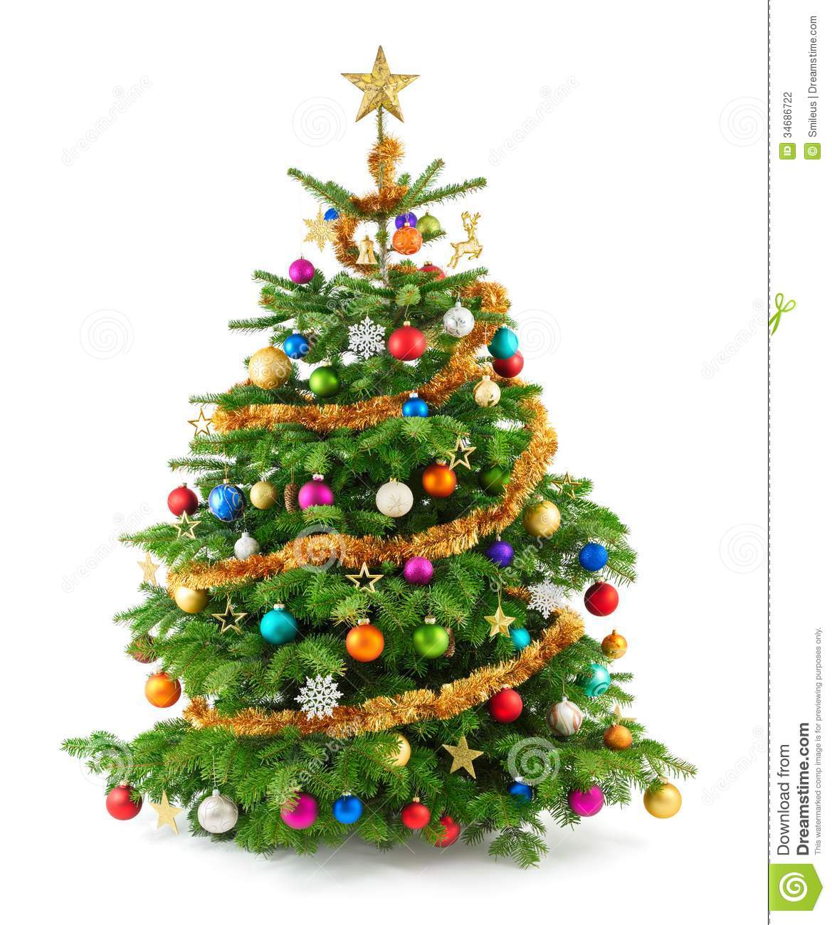 Lush Christmas Tree With Colorful Ornaments Stock