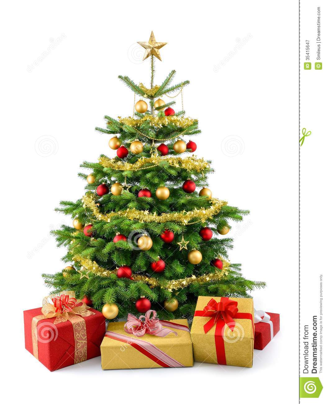 Lush christmas tree with gift boxes stock image image of lush royalty free stock photo negle Choice Image
