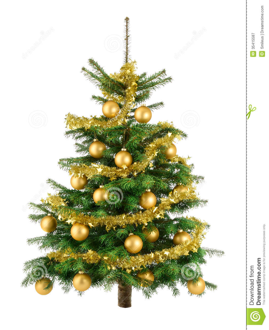 Lush Christmas Tree With Gold Baubles Royalty Free Stock ...