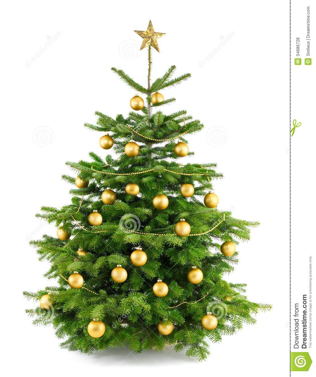 Lush christmas tree with gold ornaments stock photo
