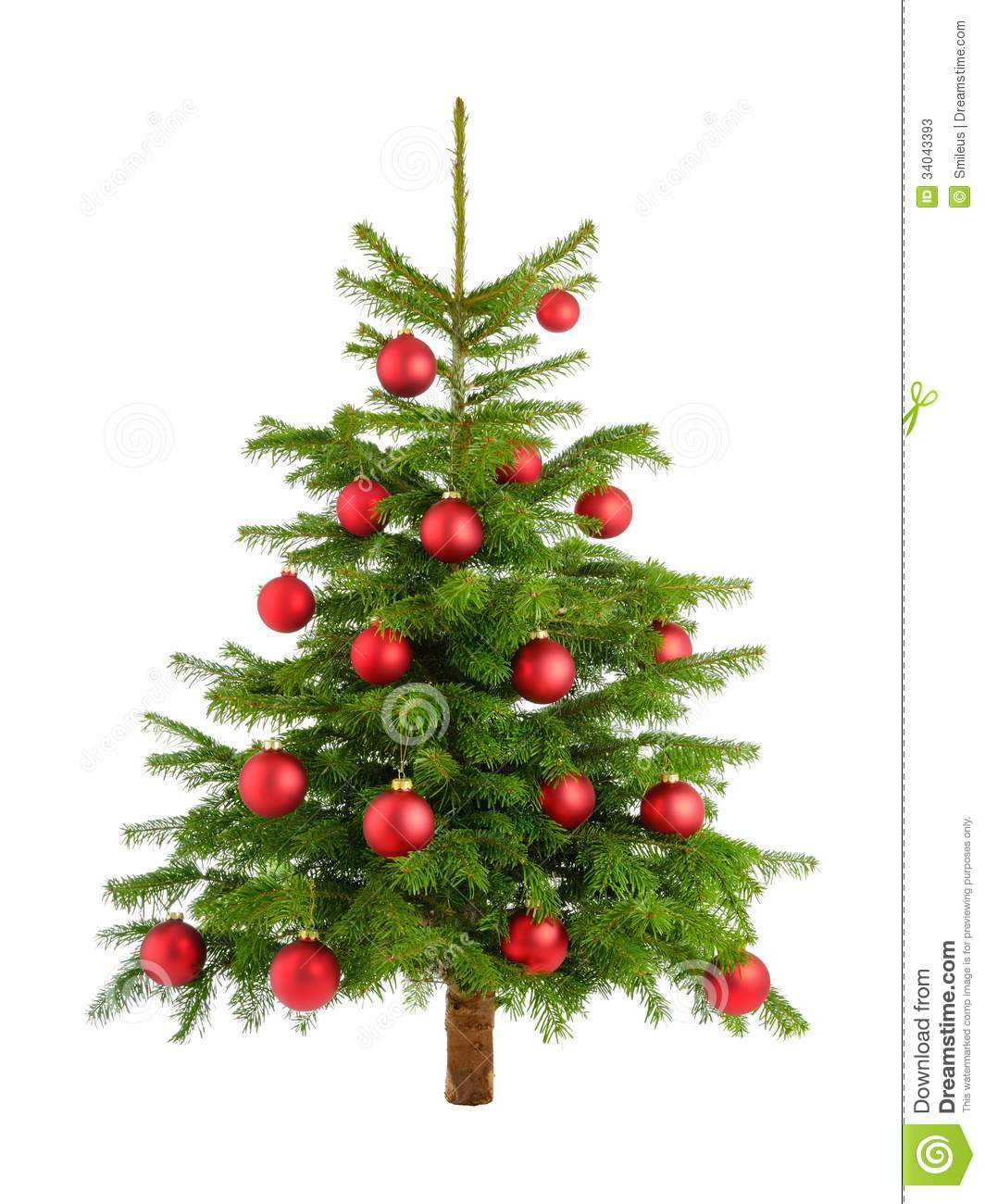 Lush christmas tree with red baubles stock image