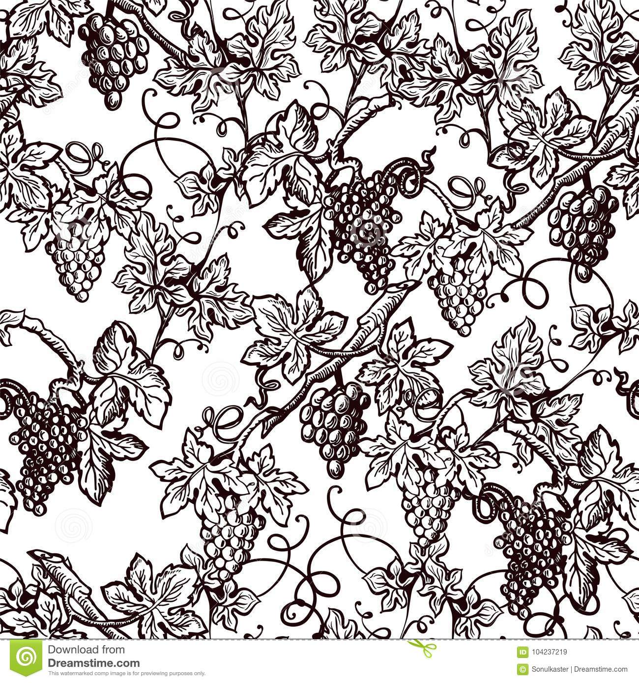 lush grape bushes black and white seamless pattern stock vector