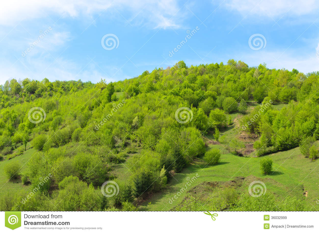 Landscaping A Sunny Hillside : Sunny blue sky with wispy clouds for a scenic landscape background