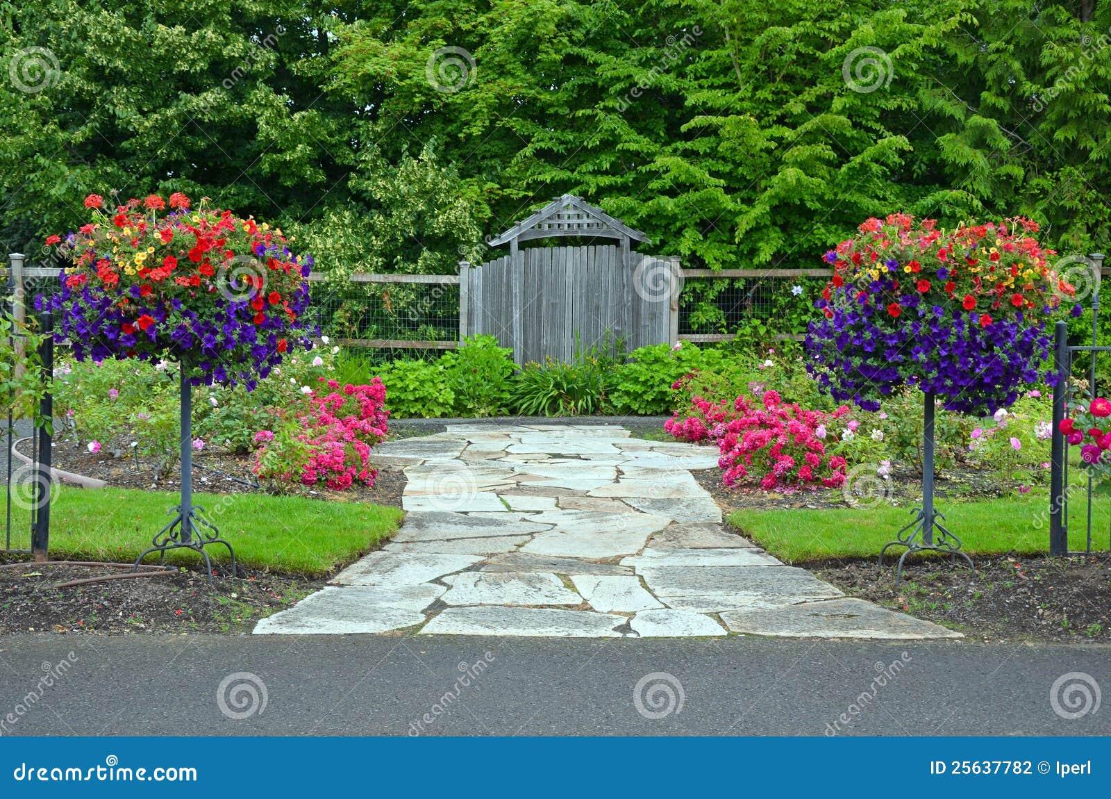Lush spring garden entrance stock photography image 25637782